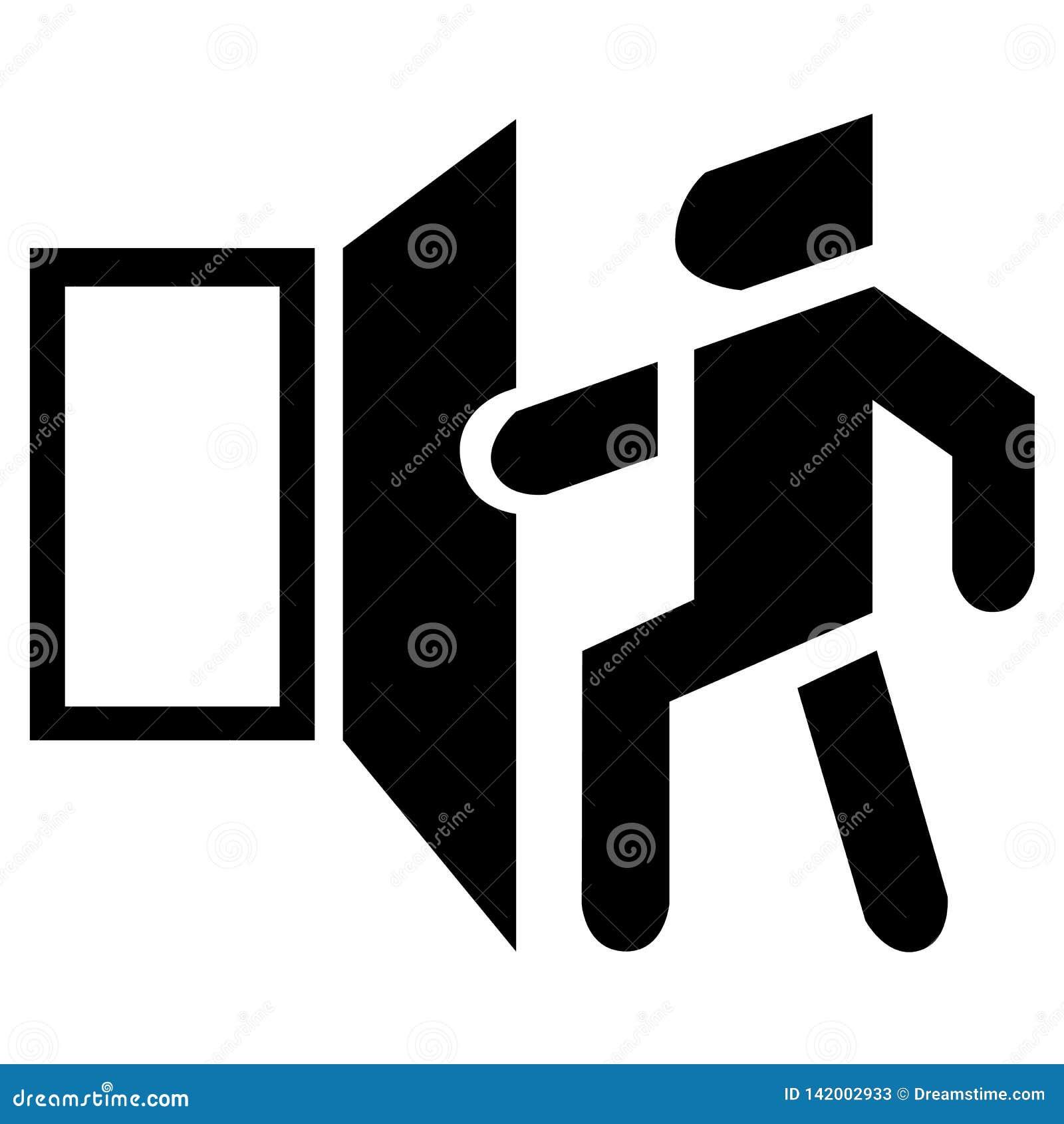 Icône de porte ouverte de vecteur Le symbole noir de base de sortie