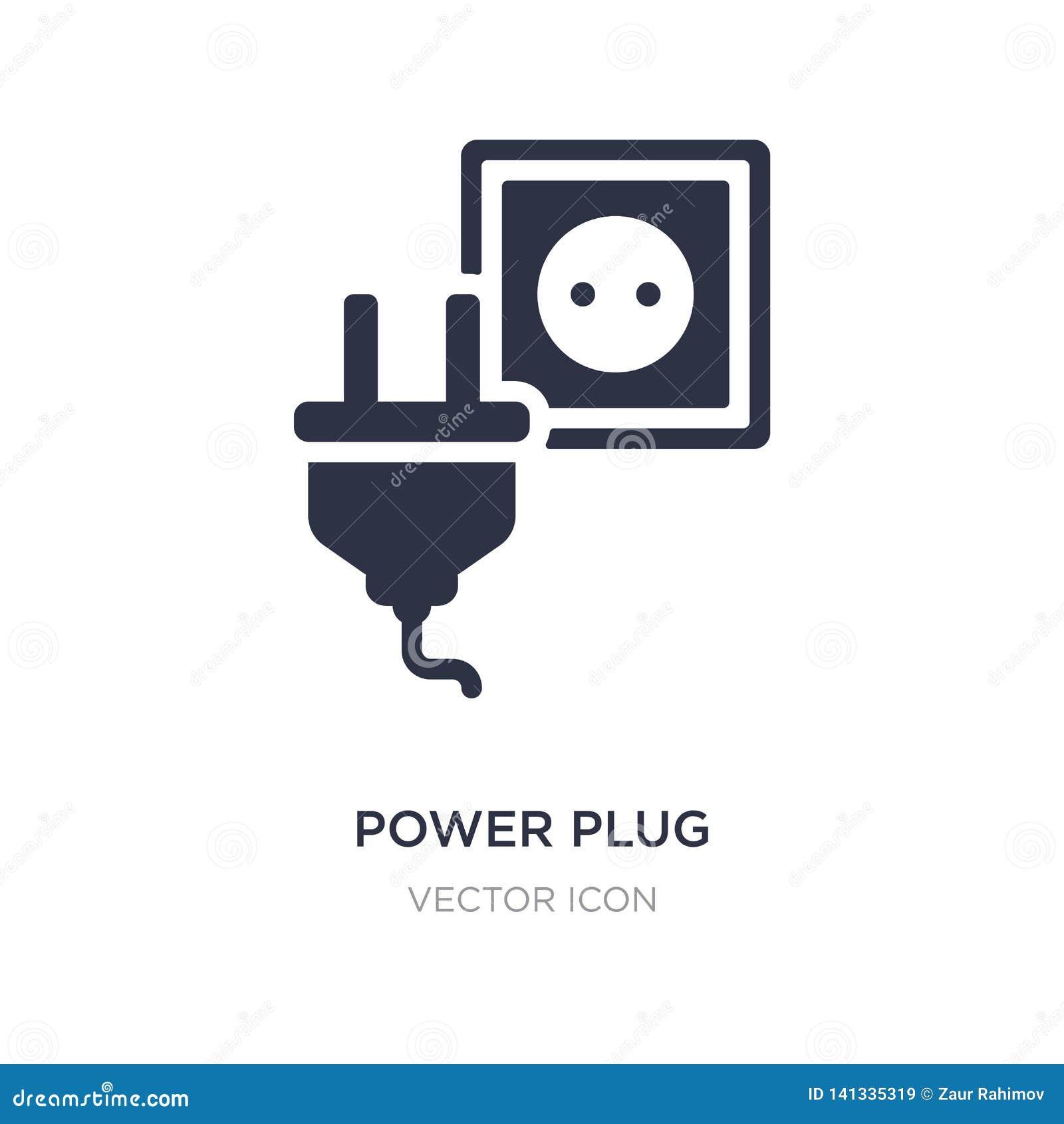 Icône de prise de puissance sur le fond blanc Illustration simple d élément de concept de technologie