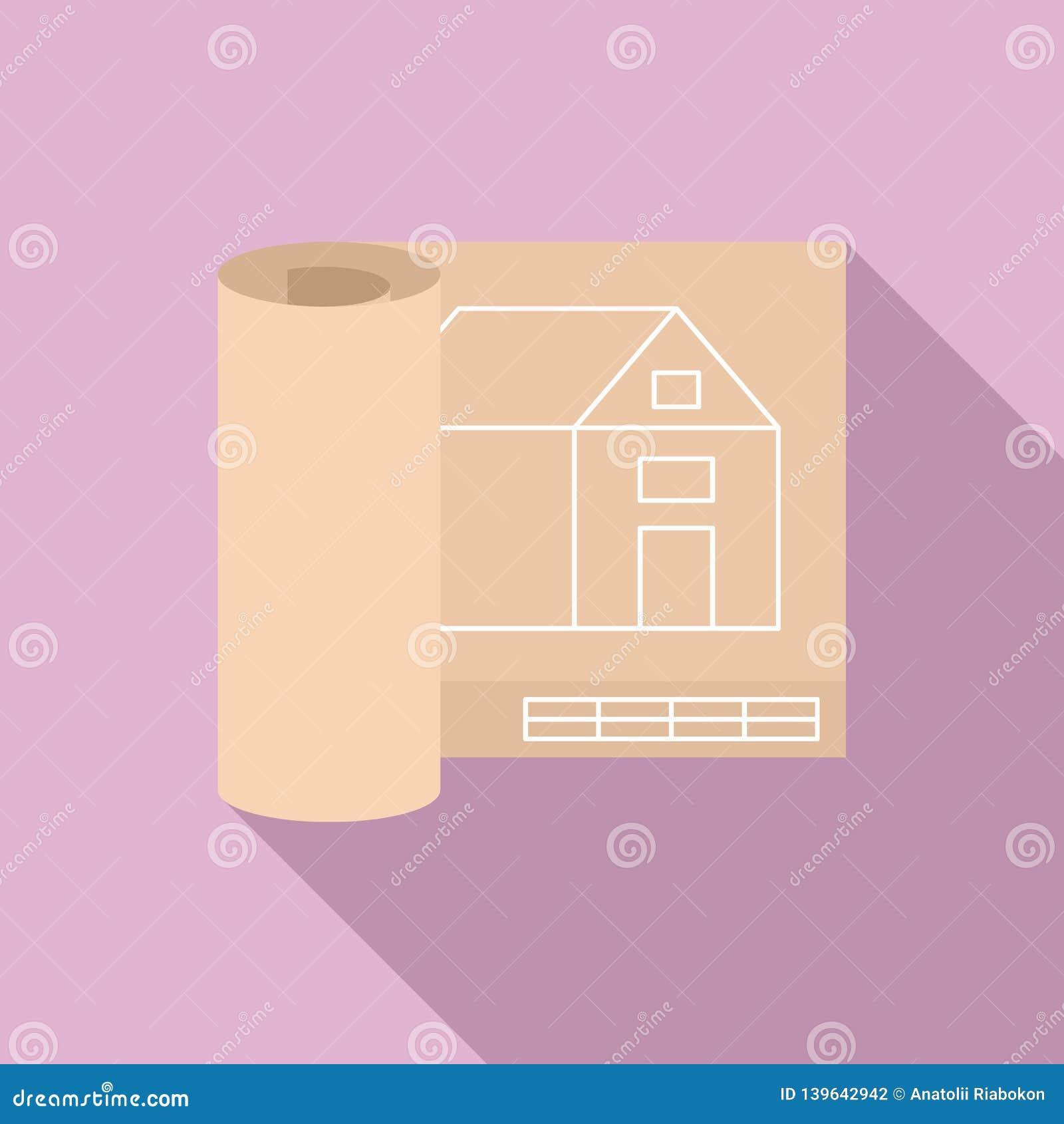 Icône de projet de maison d architecte, style plat