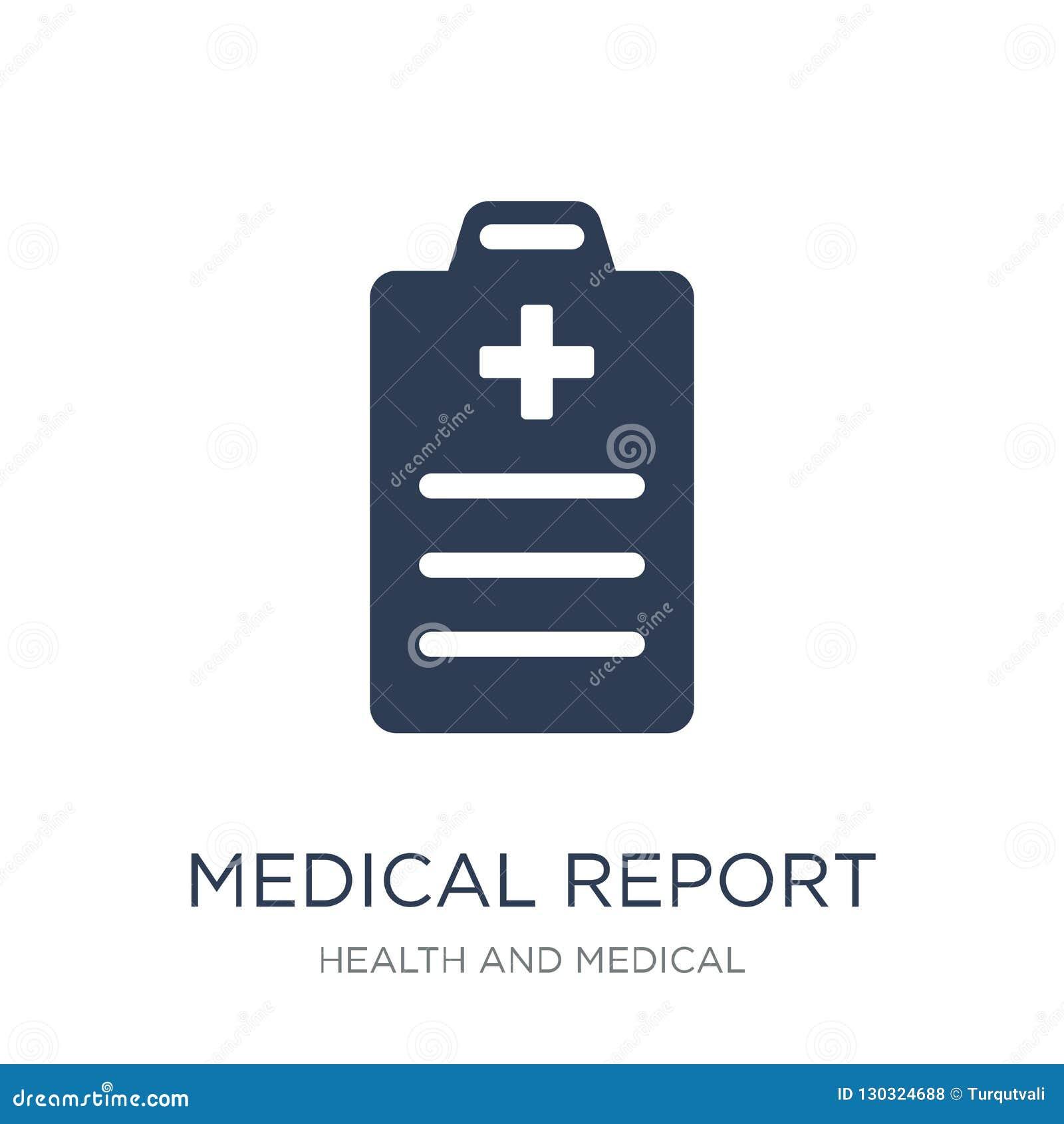 Icône de rapport médical Icône plate à la mode de rapport médical de vecteur sur W