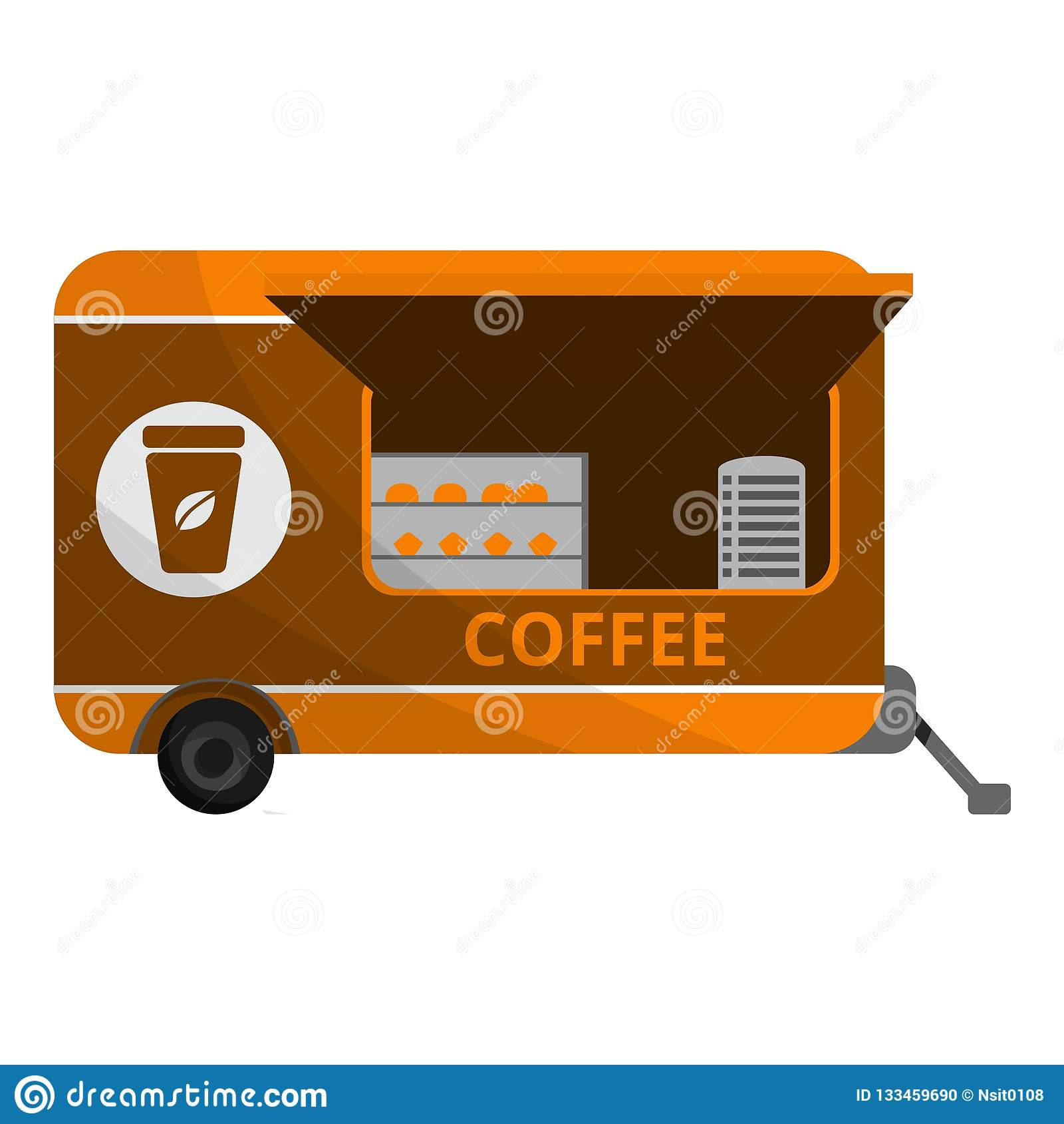 Icône de remorque de café, style de bande dessinée