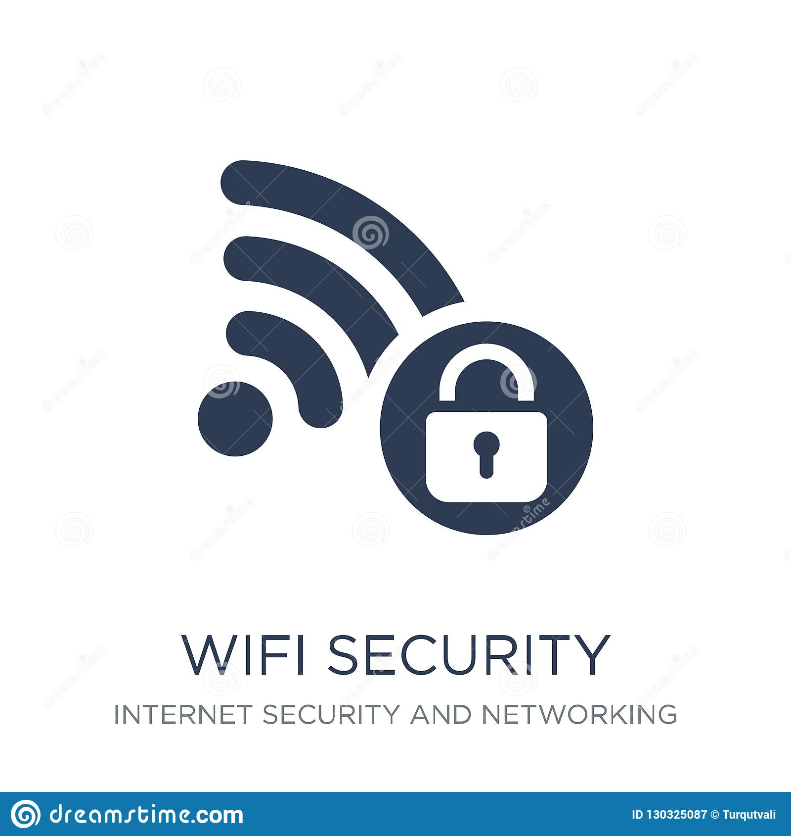 Icône de sécurité de Wifi Icône plate à la mode de sécurité de Wifi de vecteur sur le whi