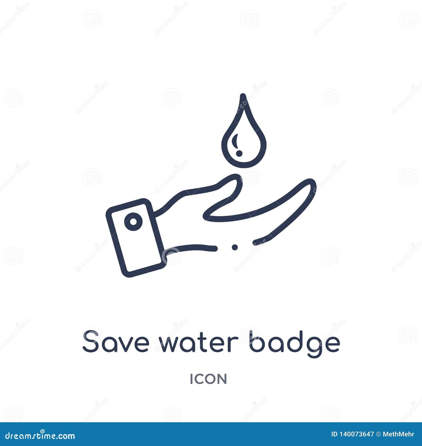 Icône de sauvegarde linéaire d insigne de l eau de collection d ensemble général Ligne mince icône d insigne de l eau d économies