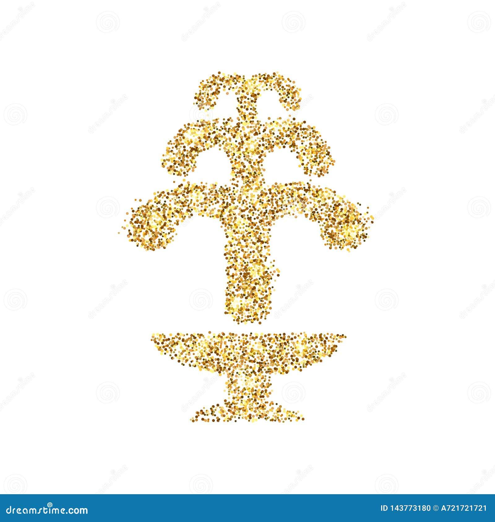 Icône de scintillement d or de fontaine d isolement sur le fond Illustration créative de concept d art pour le Web, confettis lég