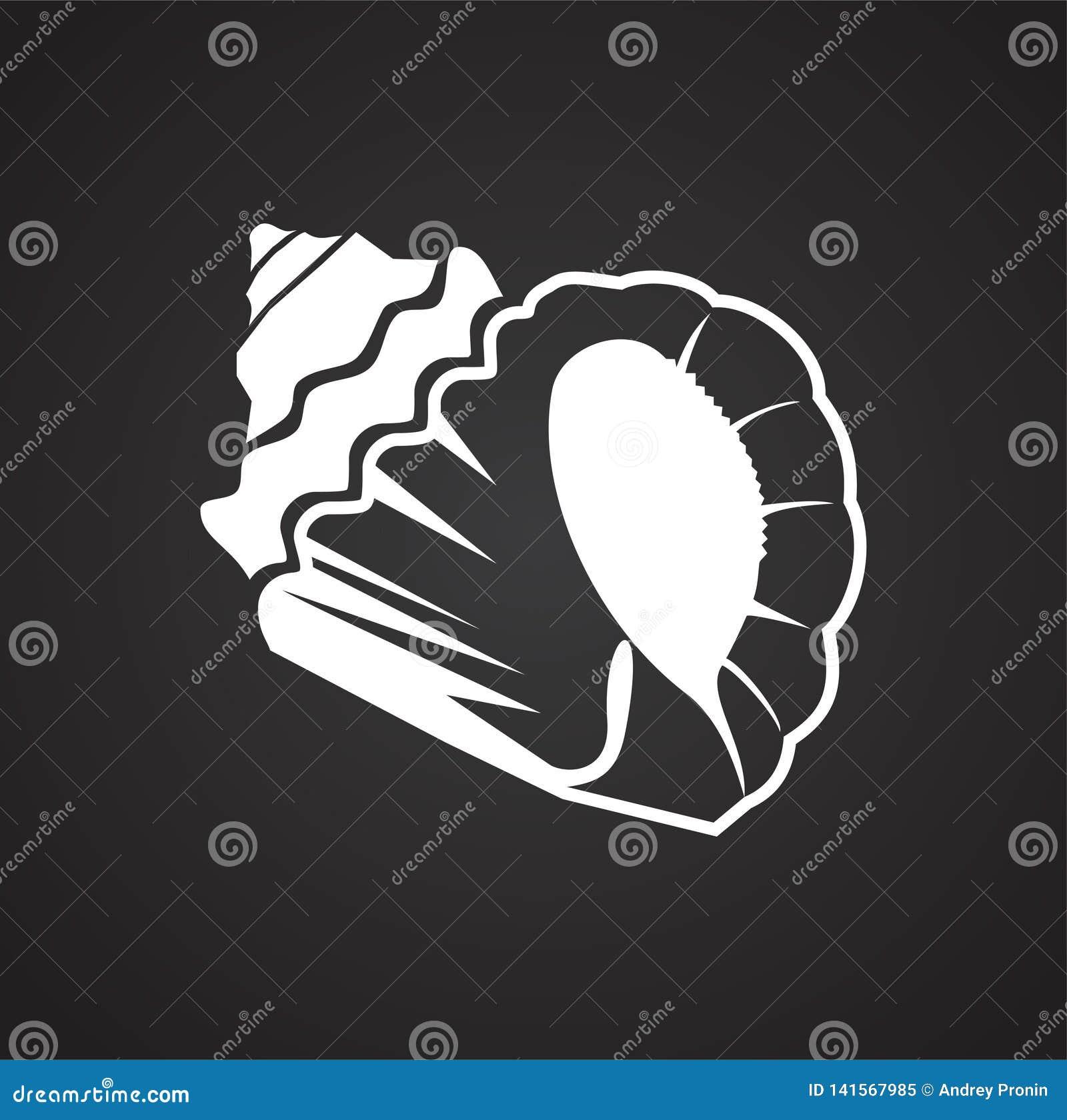 Icône de Shell de mer sur le fond noir pour le graphique et la conception web Signe simple de vecteur Symbole de concept d Intern