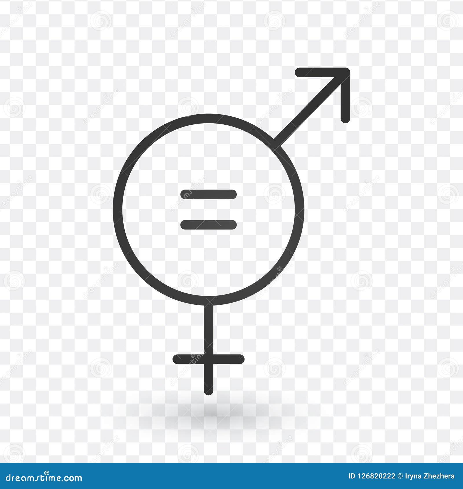 Icône de signe d égalité de genre Icône égale de concept d hommes et de femmes dans la conception linéaire Course Editable