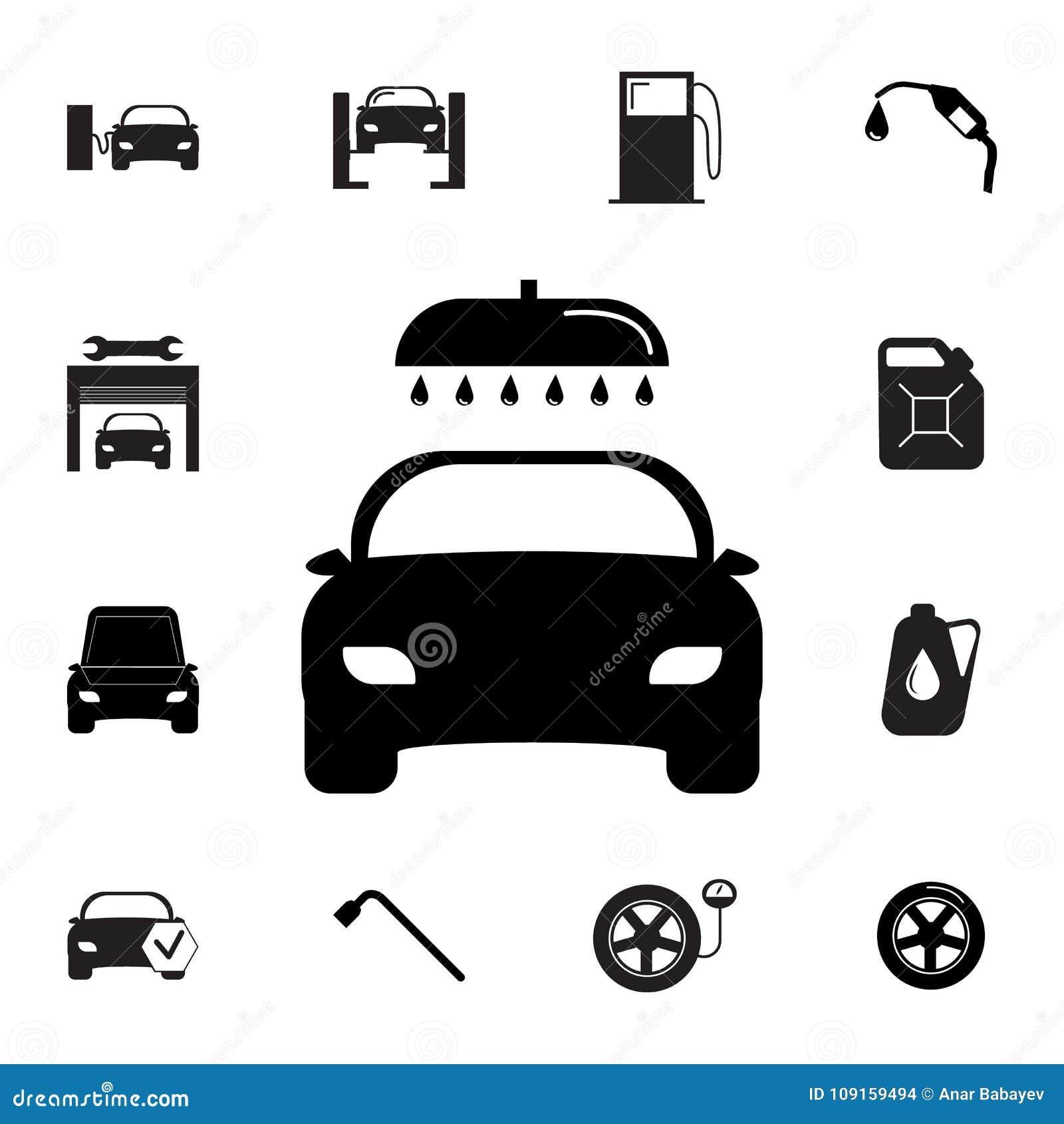 Icône de station de lavage Ensemble d icônes de réparation de voiture Signes, collection d eco d ensemble, icônes simples pour de