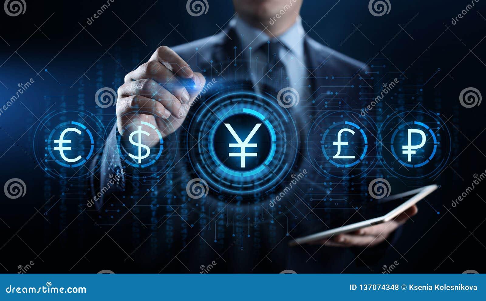 Icône de symbole monétaire de Yens sur l écran virtuel Concept marchand de technologie d affaires de forex