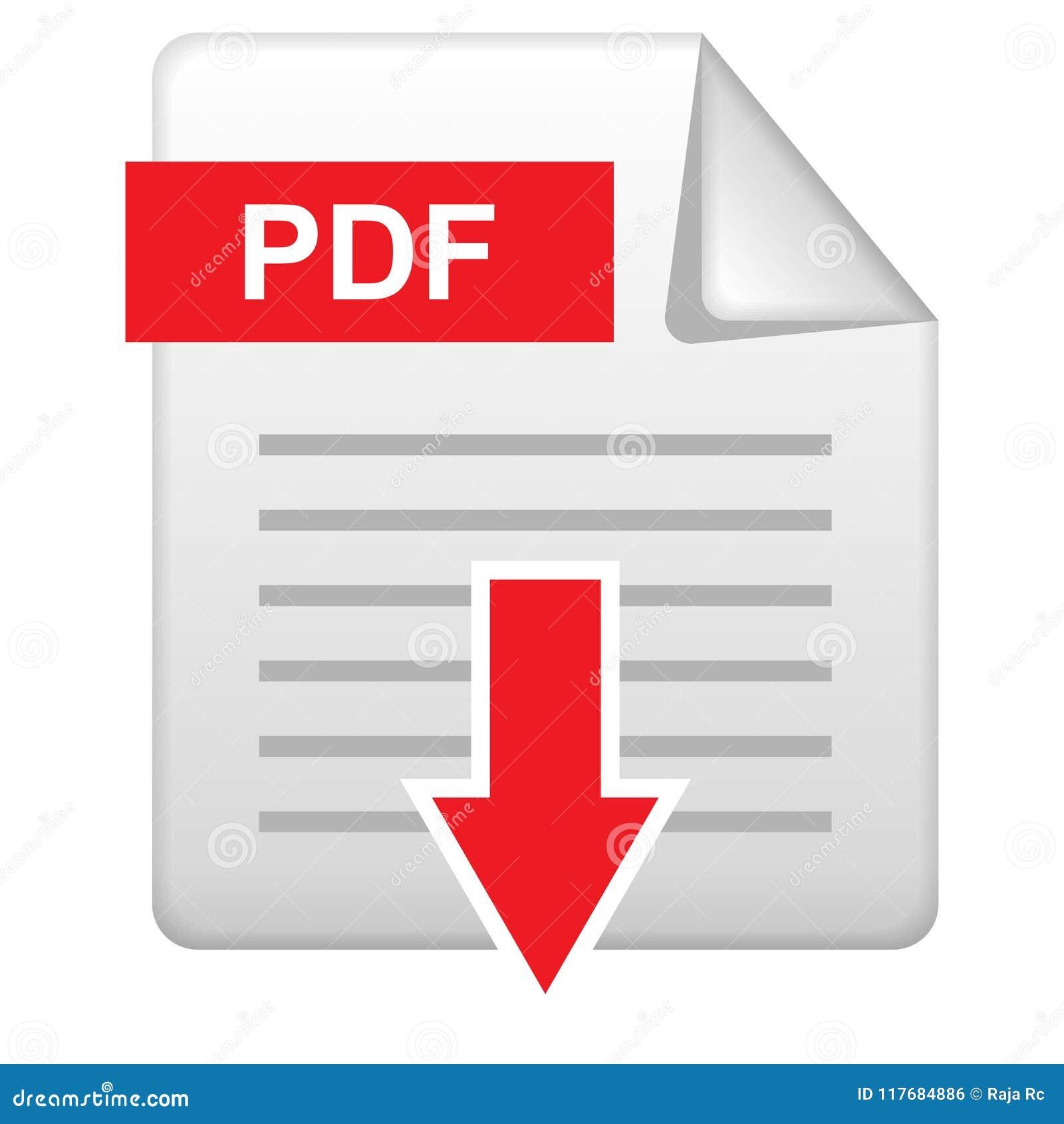 Icône de téléchargement de PDF sur le blanc