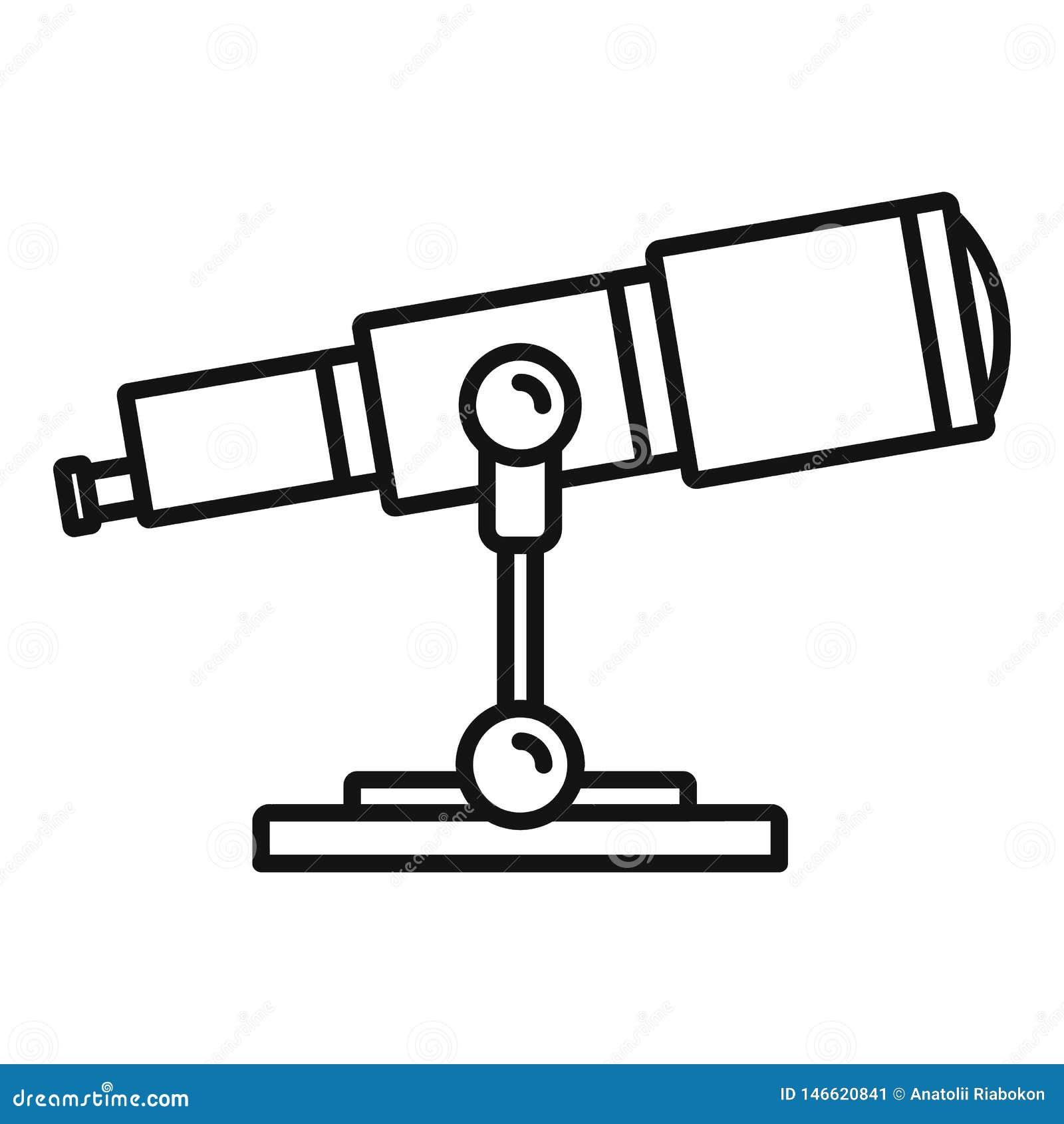 Icône de télescope de recherche spatiale, style d ensemble