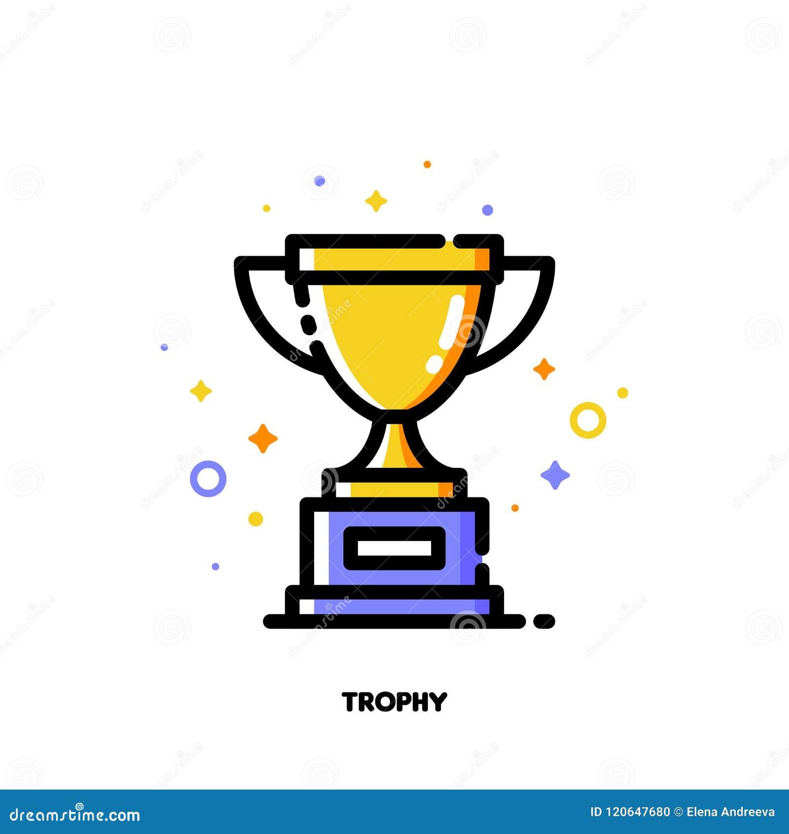 Icône de tasse d or de trophée pour le succès ou le concept de gagnant Fi plat