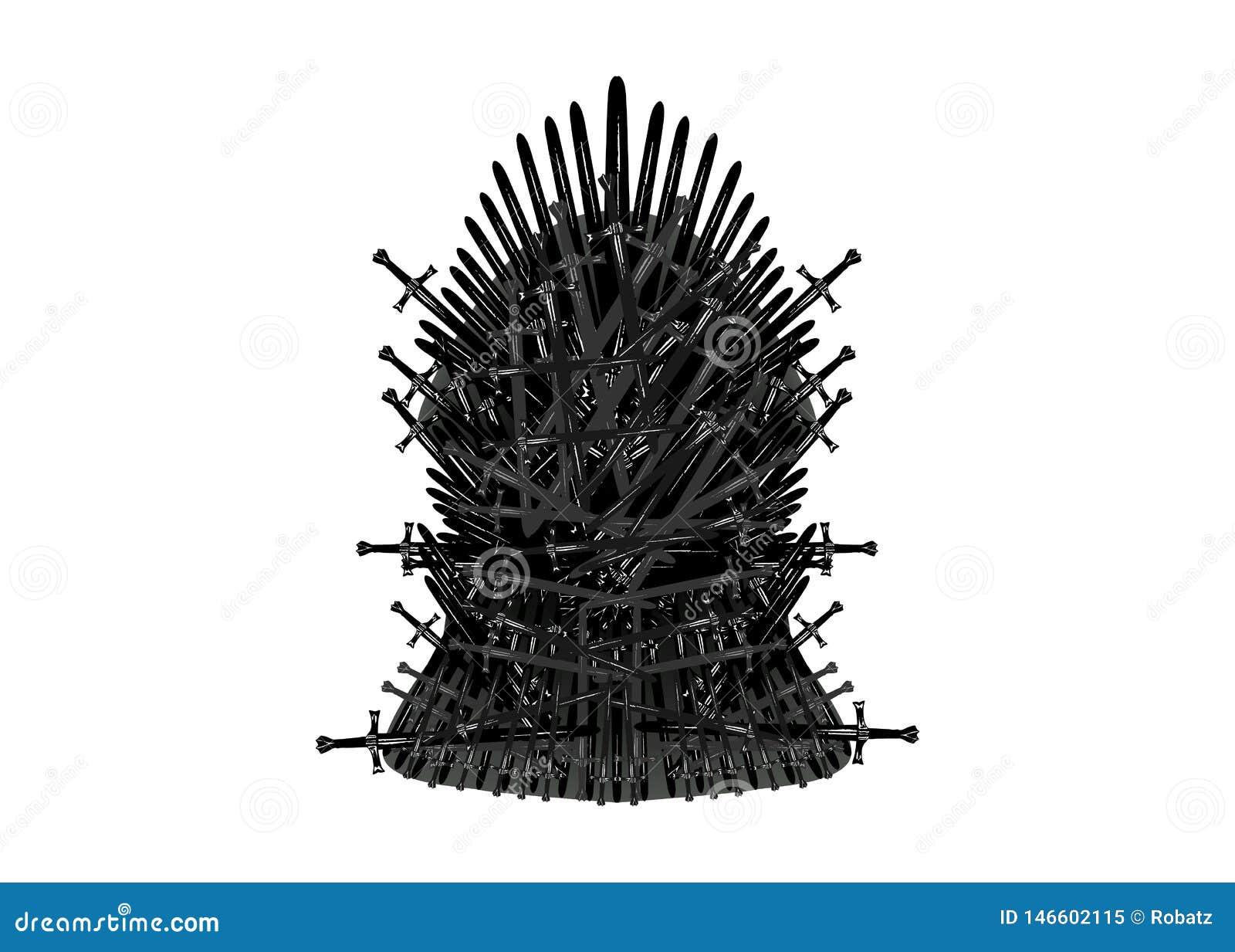Icône de trône de fer Fond d isolement ou blanc d illustration de vecteur