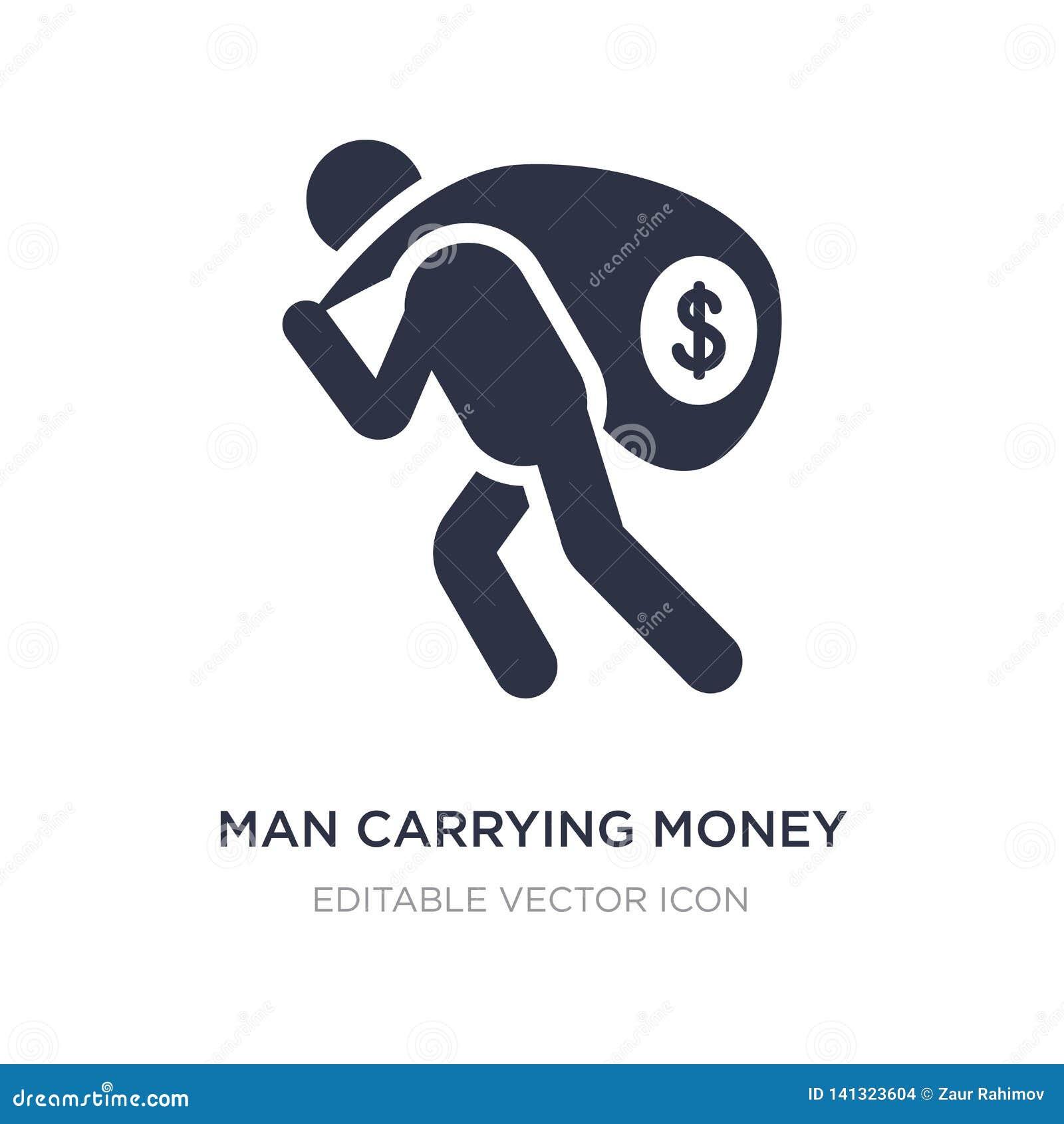 Icône de transport d argent d homme sur le fond blanc Illustration simple d élément de concept d affaires