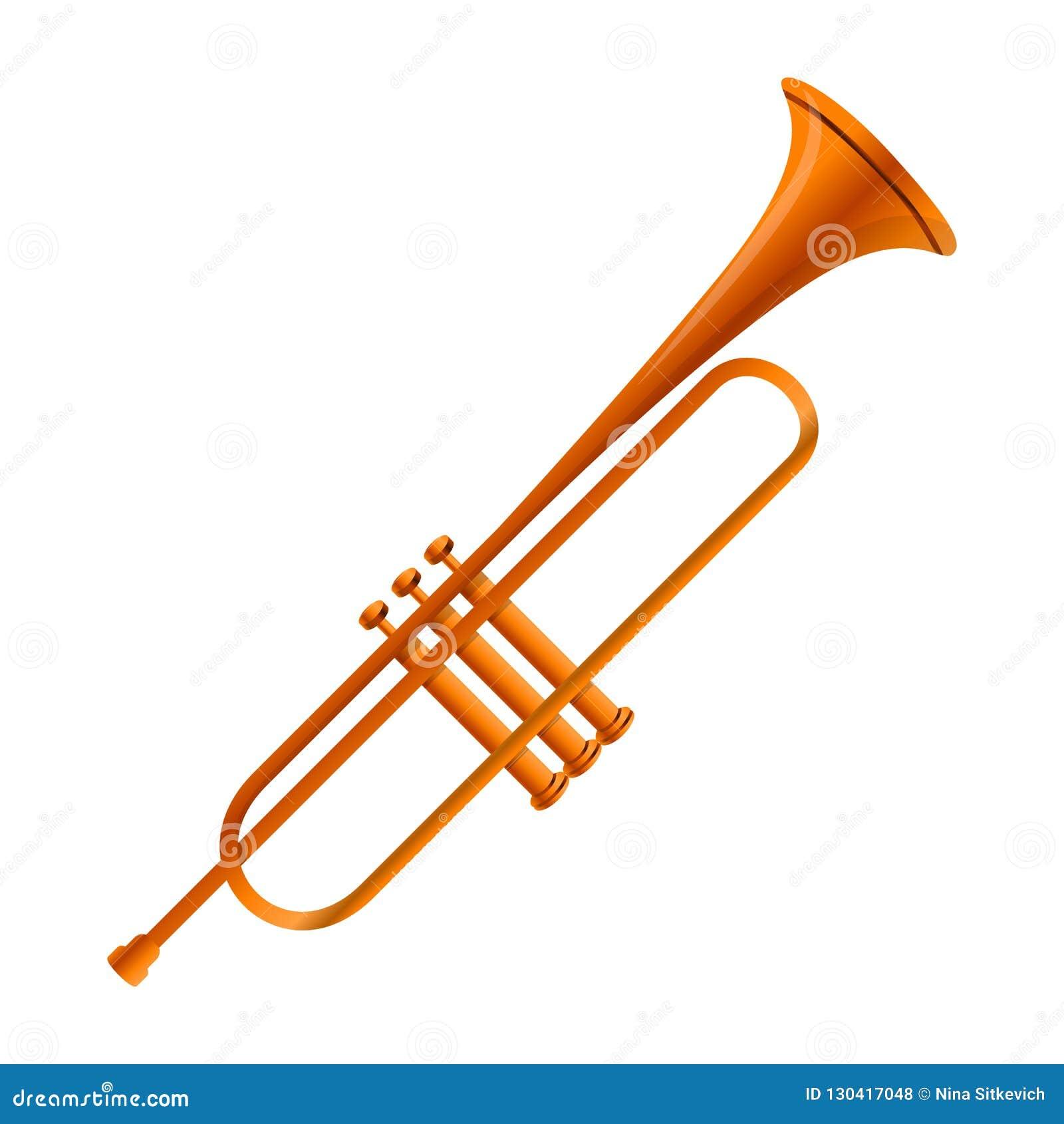 Icône de trompette d or, style de bande dessinée