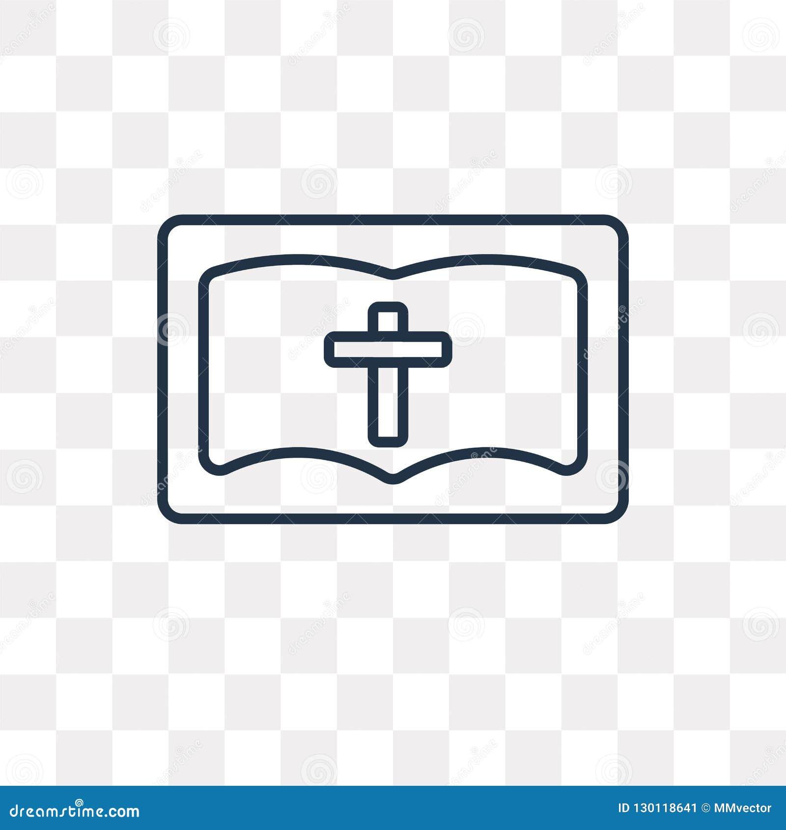 Icône de vecteur de bible d isolement sur le fond transparent, bavoir linéaire
