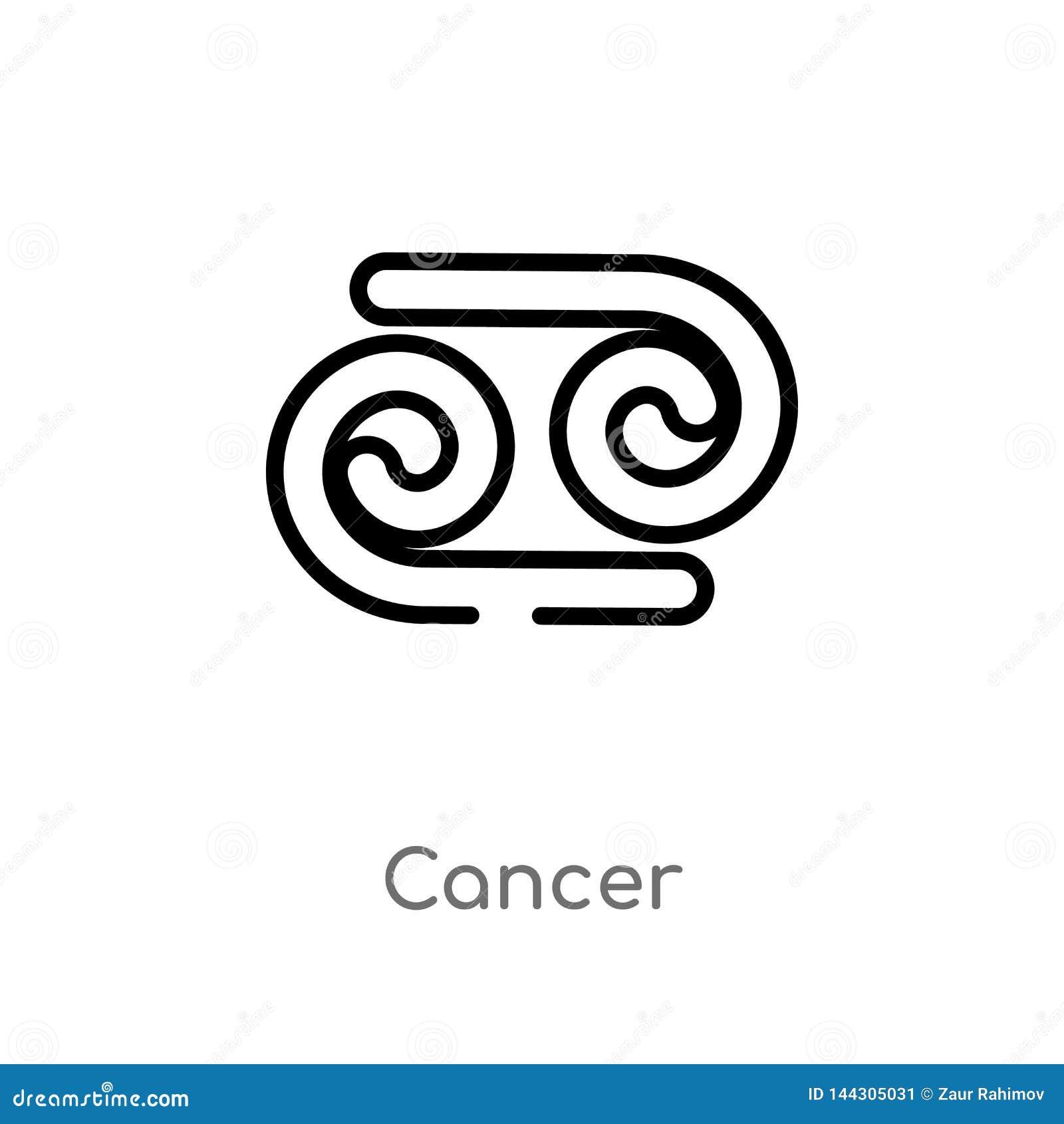Icône de vecteur de cancer d ensemble ligne simple noire d isolement illustration d élément de concept de zodiaque cancer editabl
