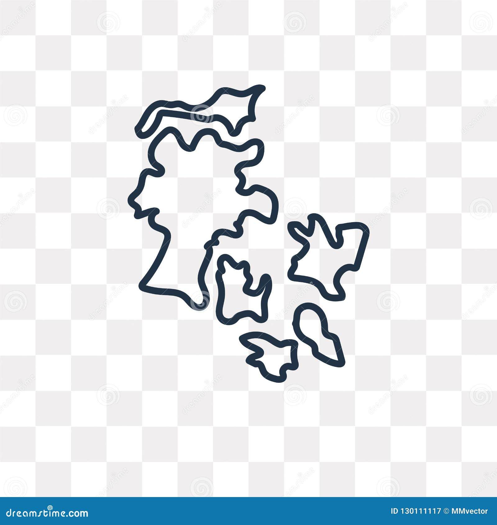 Icône de vecteur de carte du Danemark d isolement sur le fond transparent, ligne