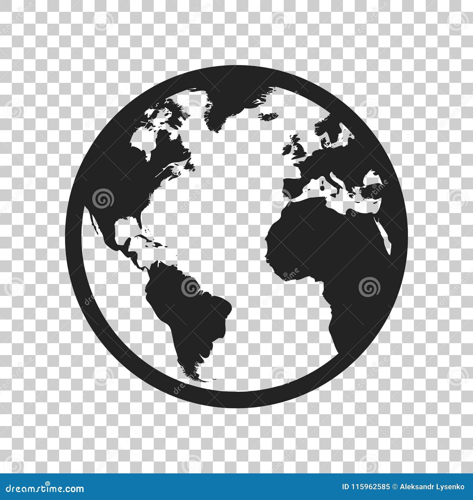Icône de vecteur de carte du monde de globe Illustratio plat de vecteur de la terre ronde