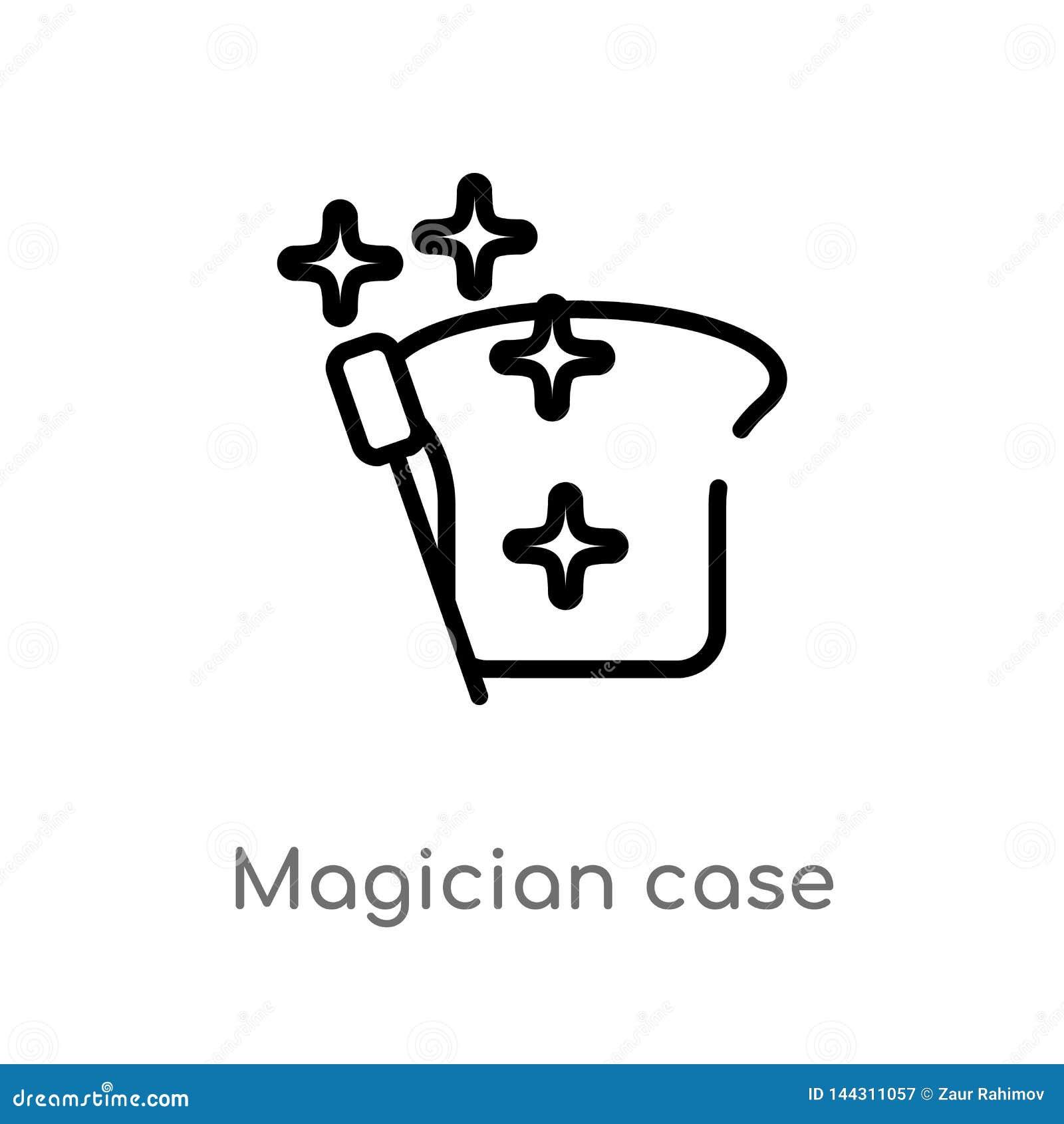 Ic?ne de vecteur de cas de magicien d ensemble ligne simple noire d isolement illustration d ?l?ment de concept de partie Course