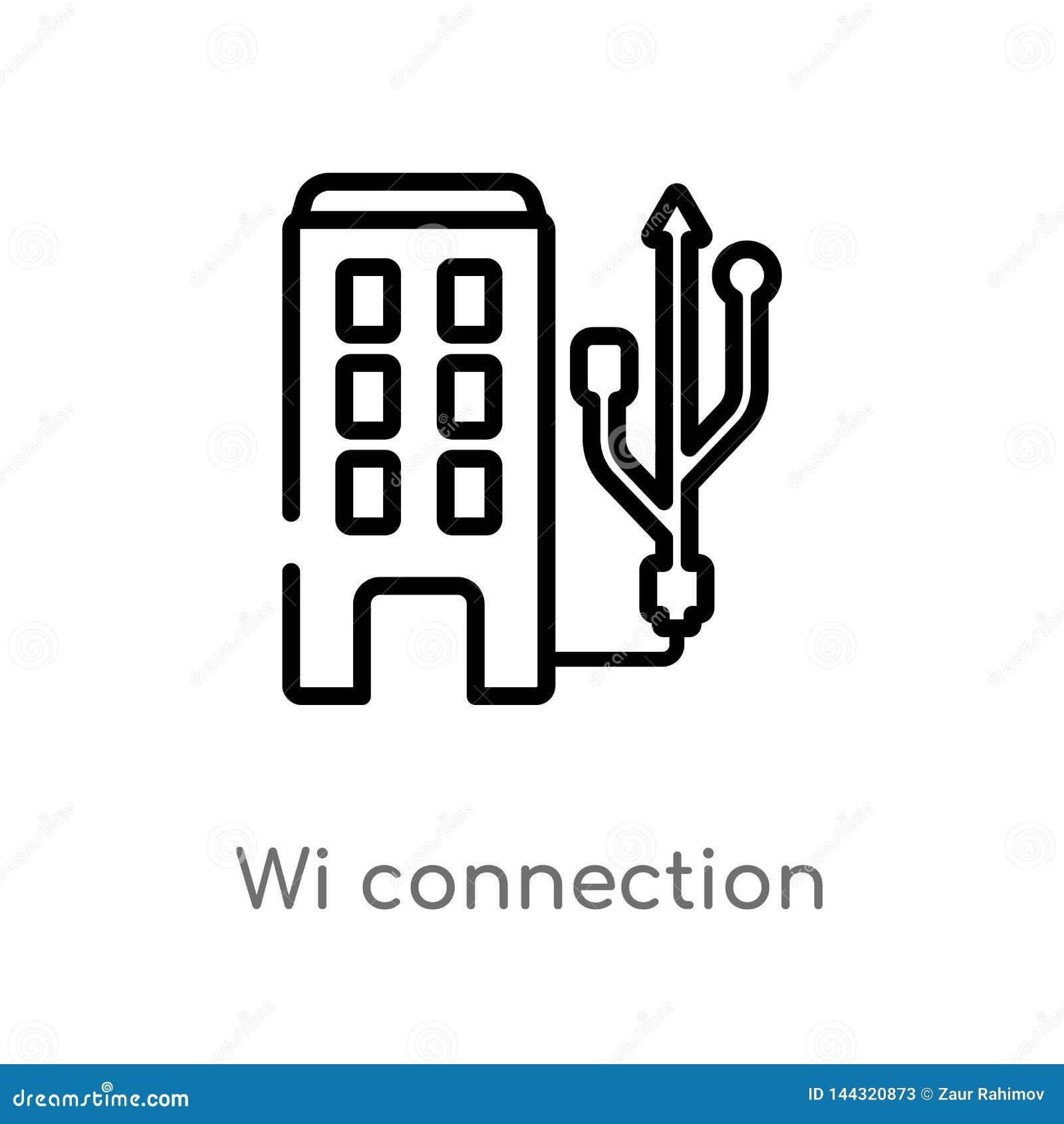 Icône de vecteur de connexion de WI d ensemble ligne simple noire d isolement illustration d ?l?ment de concept de technologie Co