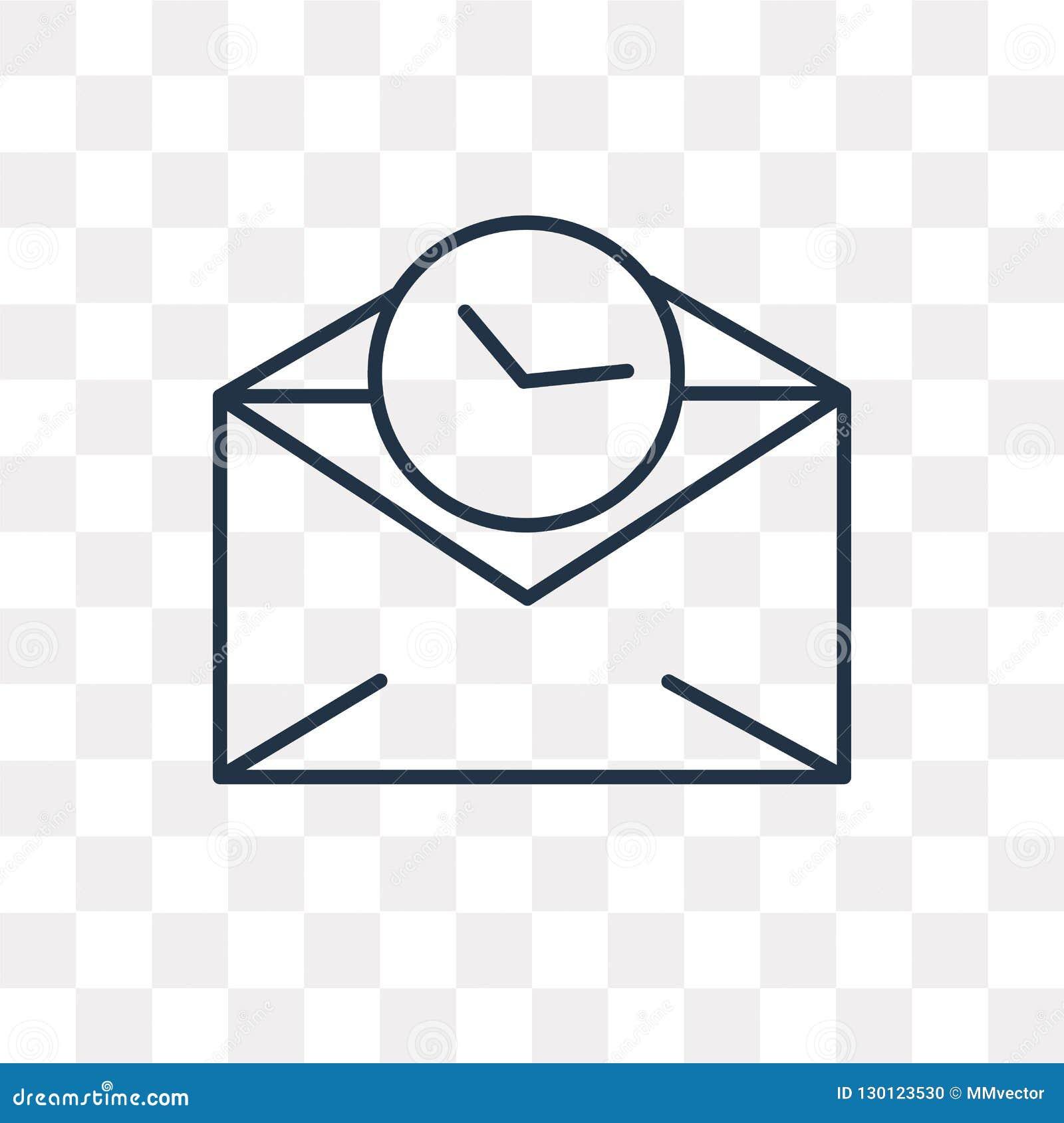 Icône de vecteur de courrier d isolement sur le fond transparent, courrier linéaire