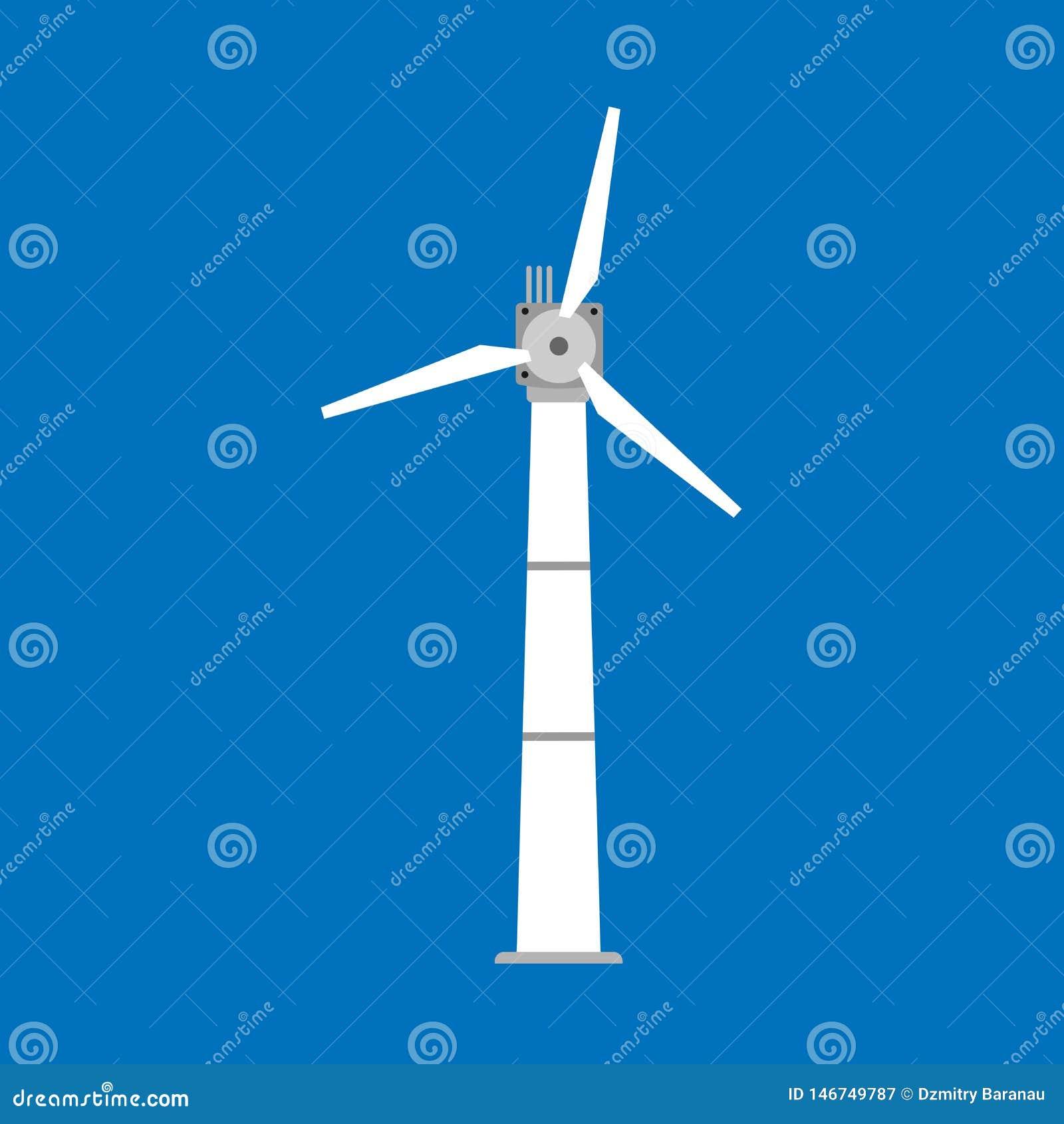 Icône de vecteur d énergie de moulin à vent de puissance de turbine de vent Tour alternative de générateur d eco d industrie de t