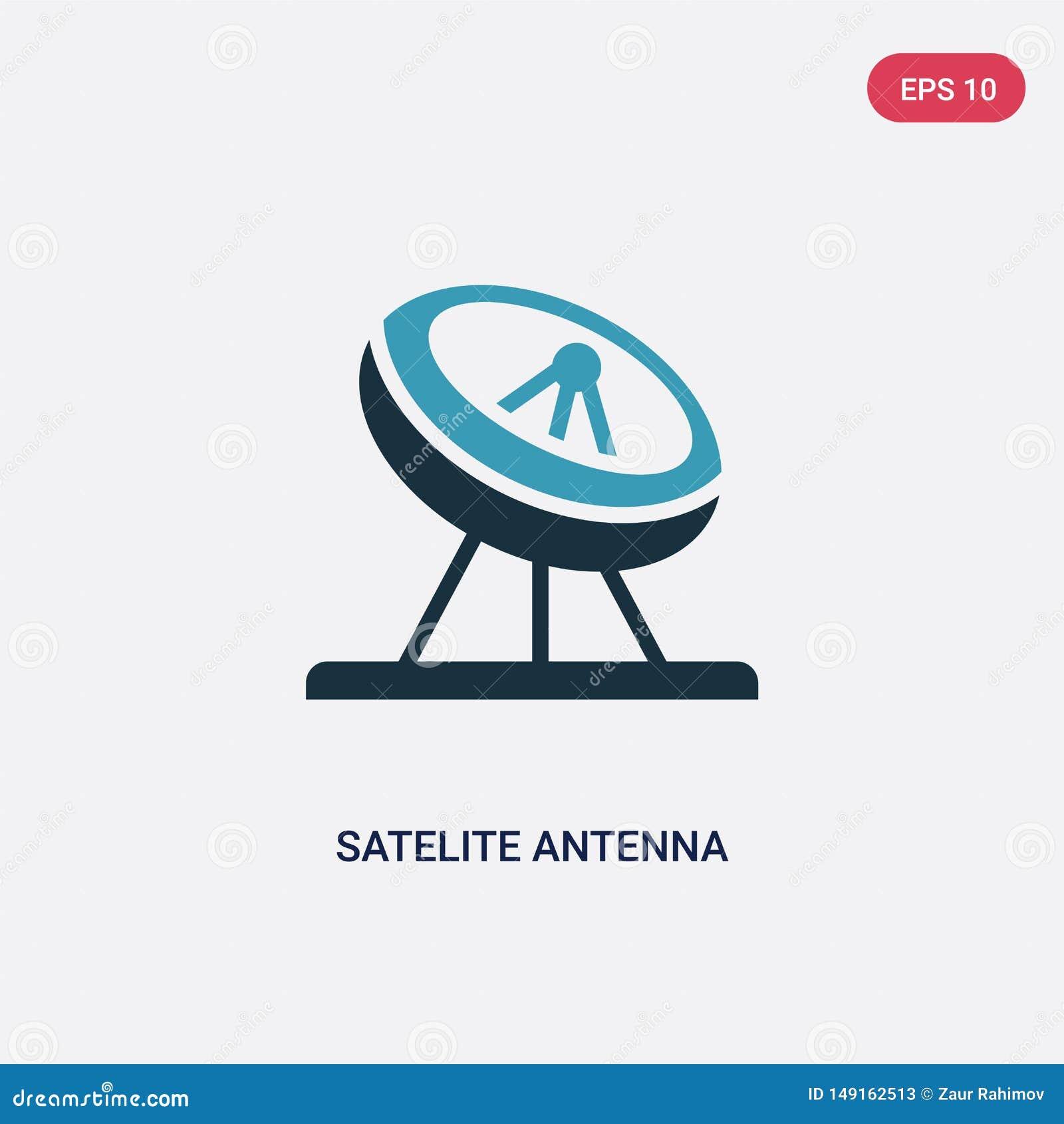 Icône de vecteur d antenne de satellite de deux couleurs de l autre concept le symbole bleu d isolement de signe de vecteur d ant