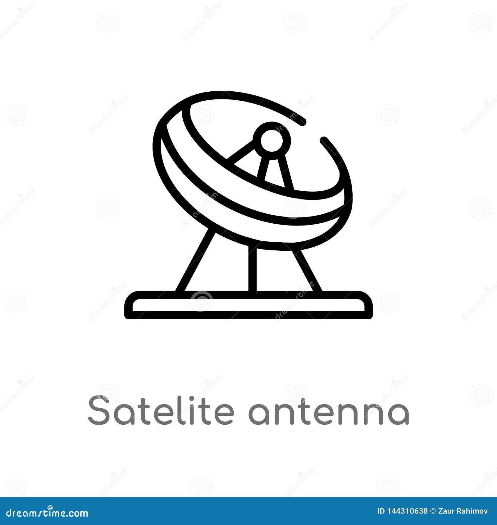 Ic?ne de vecteur d antenne de satellite d ensemble ligne simple noire d isolement illustration d ?l?ment de l autre concept Cours