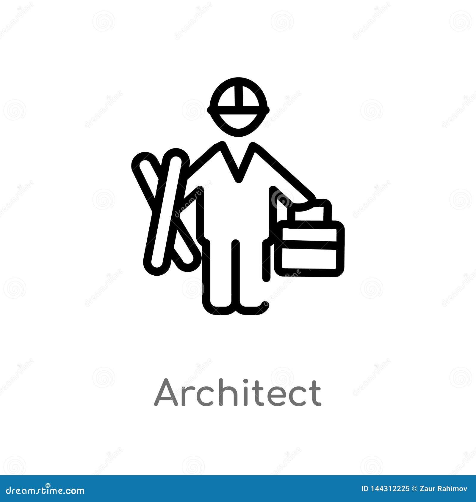 Icône de vecteur d architecte d ensemble ligne simple noire d isolement illustration d élément de concept de personnes Course Edi