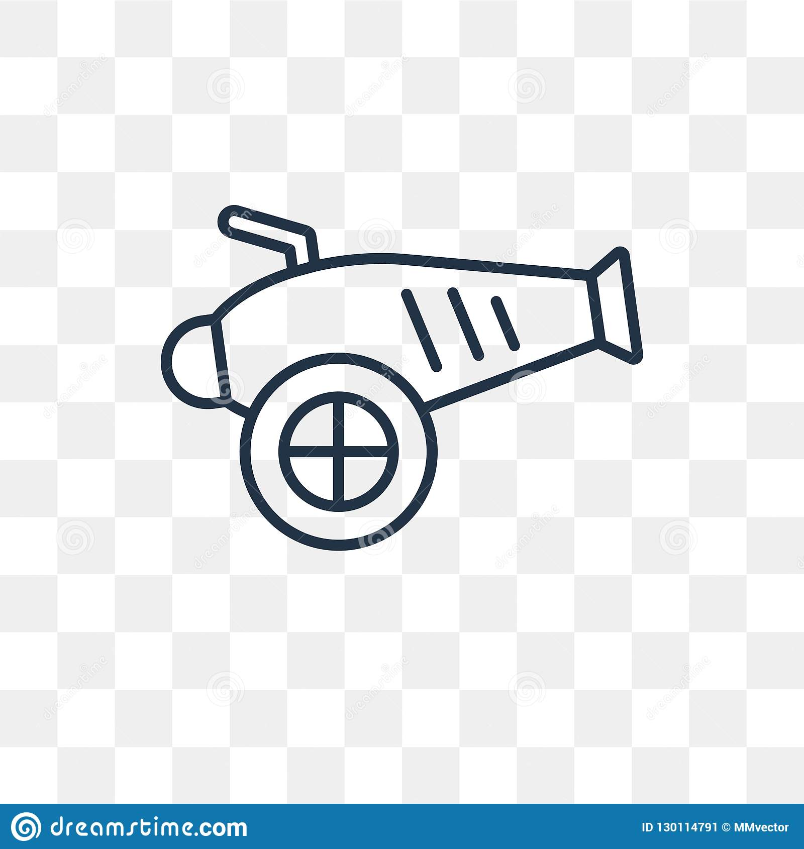 Icône de vecteur d artillerie d isolement sur le fond transparent, linéaire