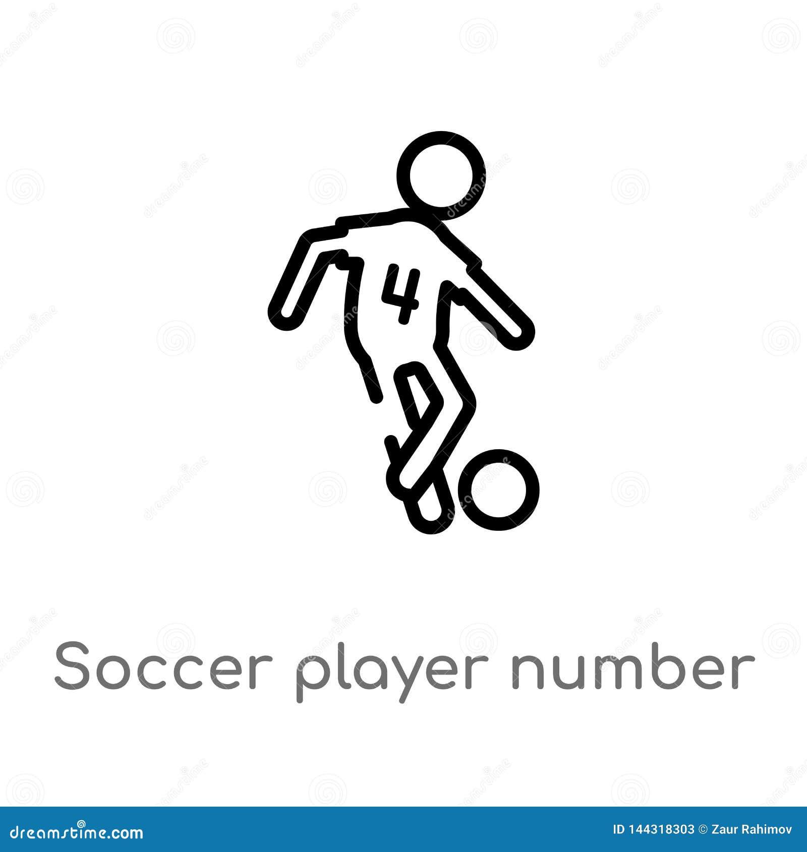 Icône de vecteur du numéro quatre de footballeur d ensemble ligne simple noire d isolement illustration d ?l?ment de concept de s