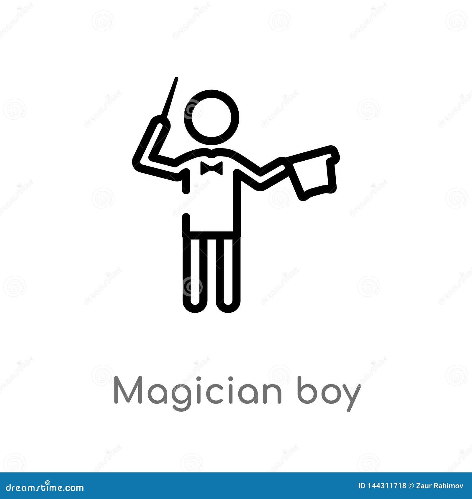 Ic?ne de vecteur de gar?on de magicien d ensemble ligne simple noire d isolement illustration d ?l?ment de concept de personnes C