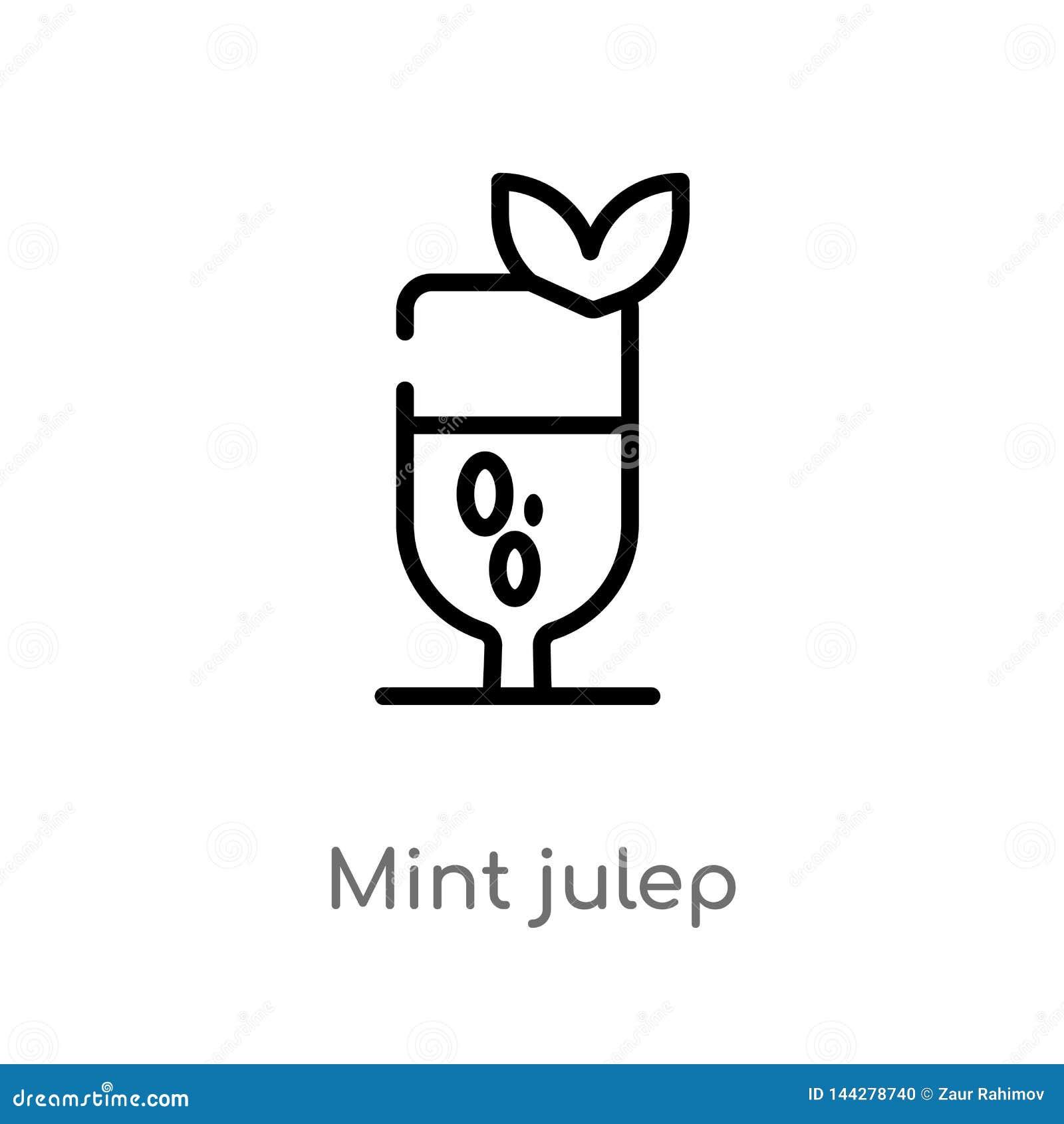 Icône de vecteur de julep en bon état d ensemble ligne simple noire d isolement illustration d élément de concept de boissons men