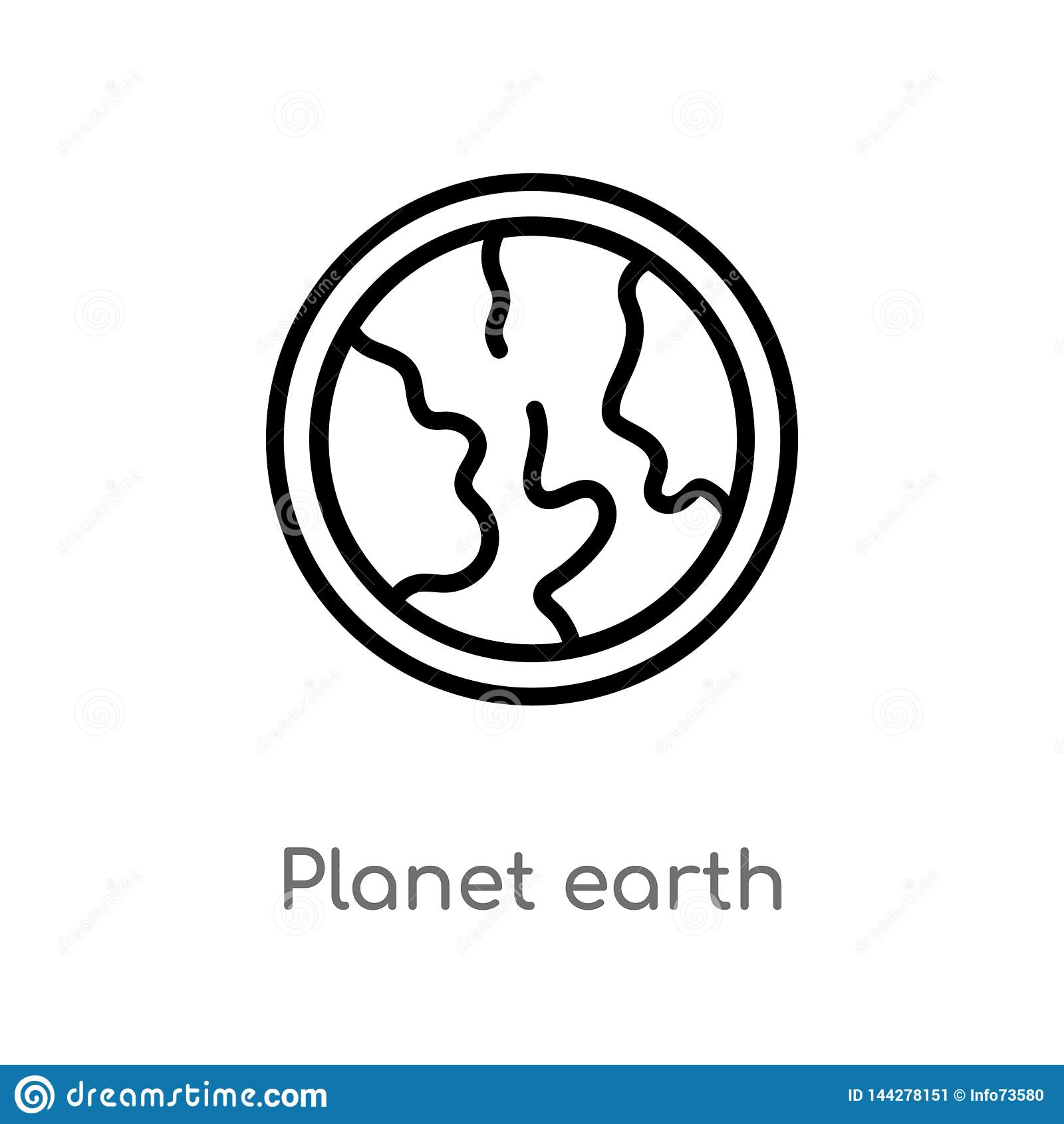 Icône de vecteur de la terre de planète d ensemble ligne simple noire d isolement illustration d ?l?ment de la livraison et de co