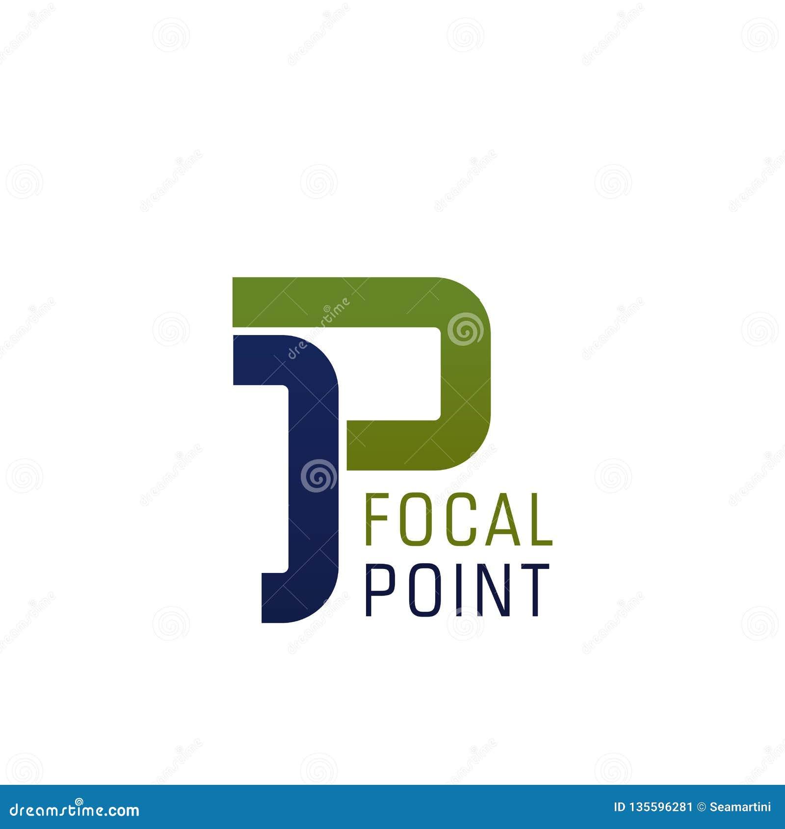 Icône de vecteur de lettre de P pour le point focal