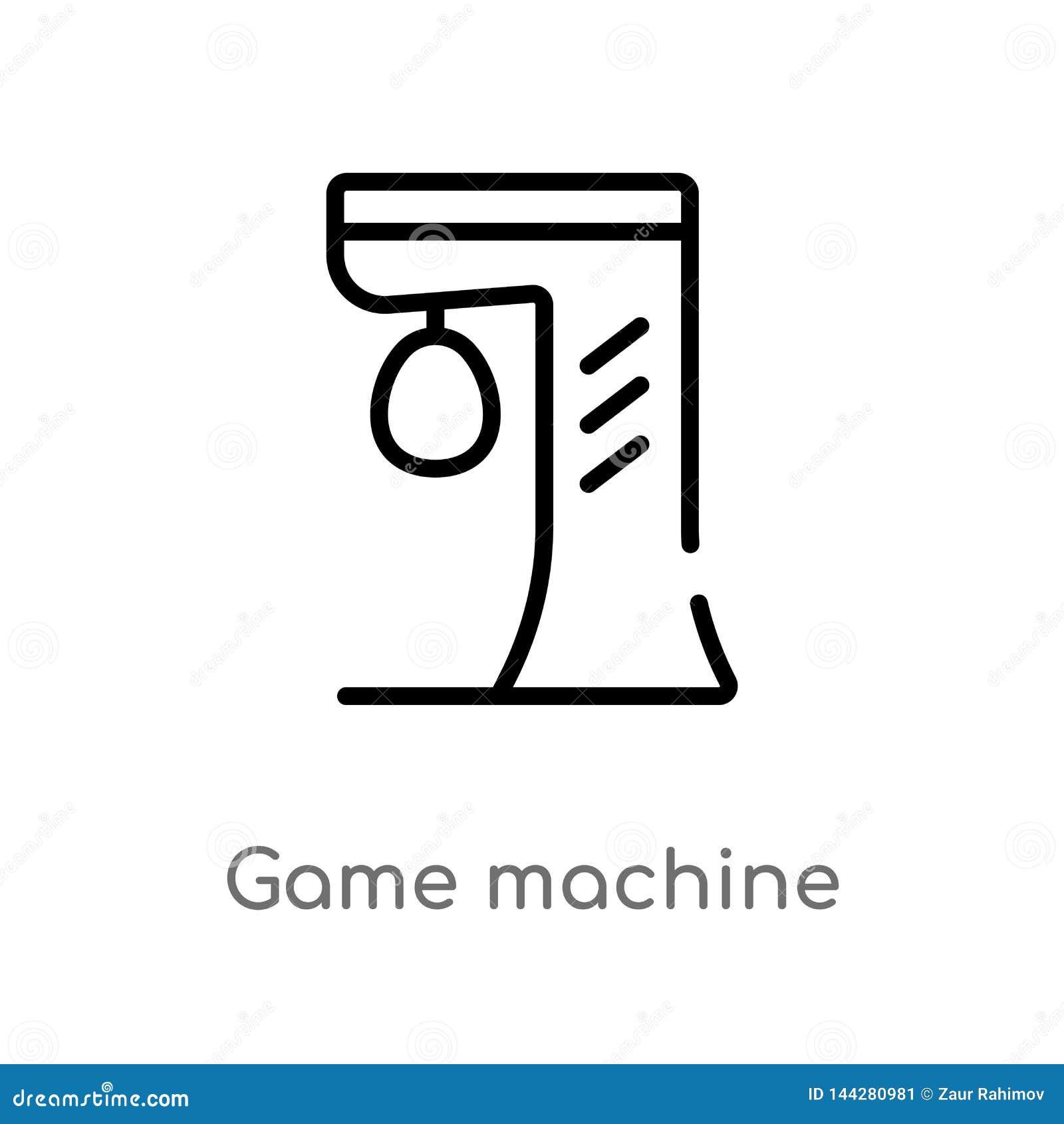 Icône de vecteur de machine de jeu d ensemble ligne simple noire d isolement illustration d ?l?ment de divertissement et de conce