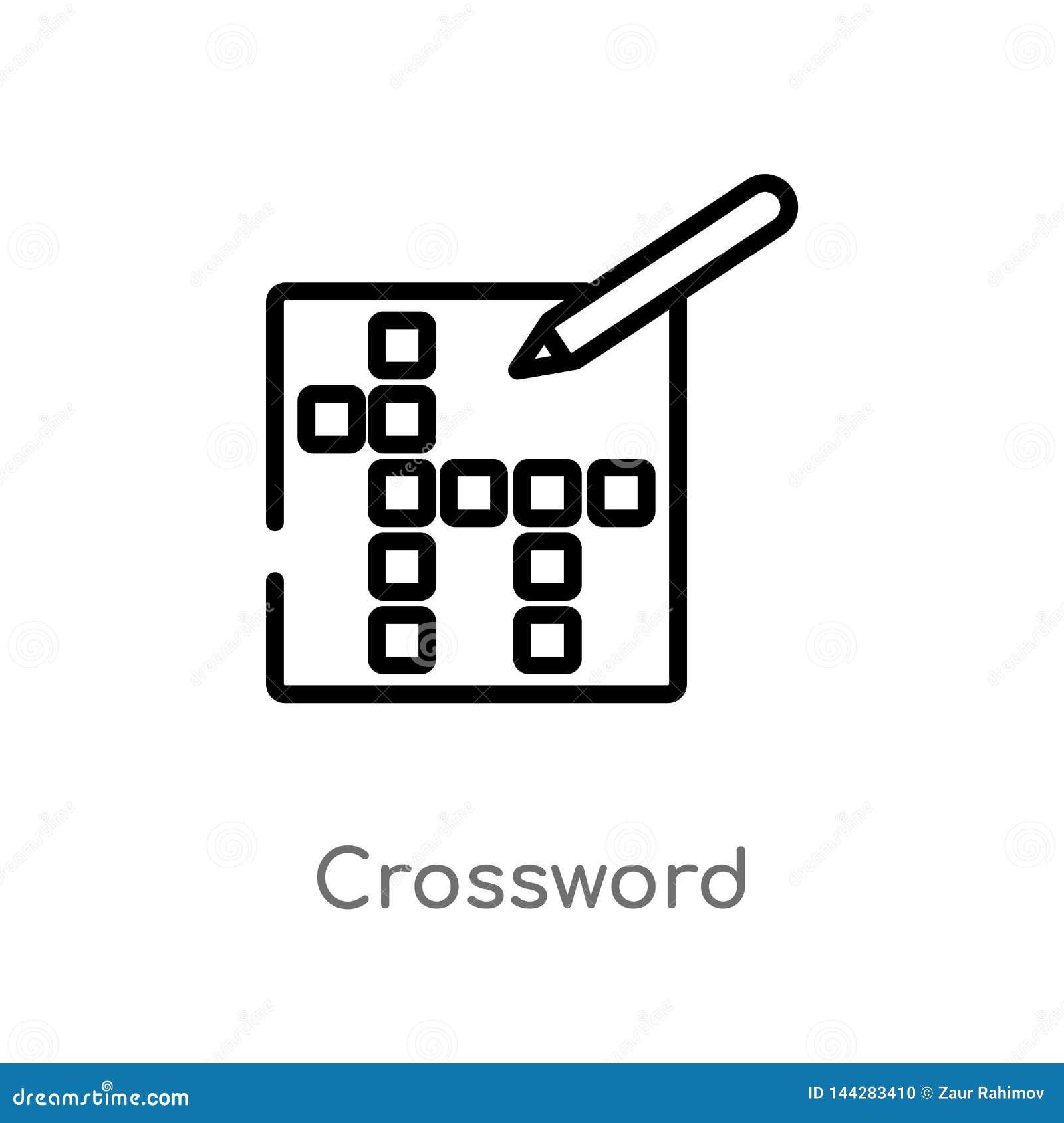 Icône de vecteur de mots croisé d ensemble ligne simple noire d isolement illustration d ?l?ment de concept de temps libre Course