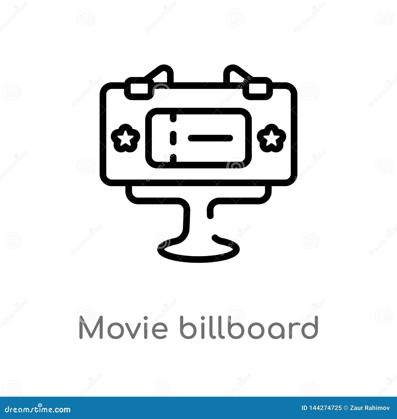 Icône de vecteur de panneau d affichage de film d ensemble ligne simple noire d isolement illustration d élément de concept de ci