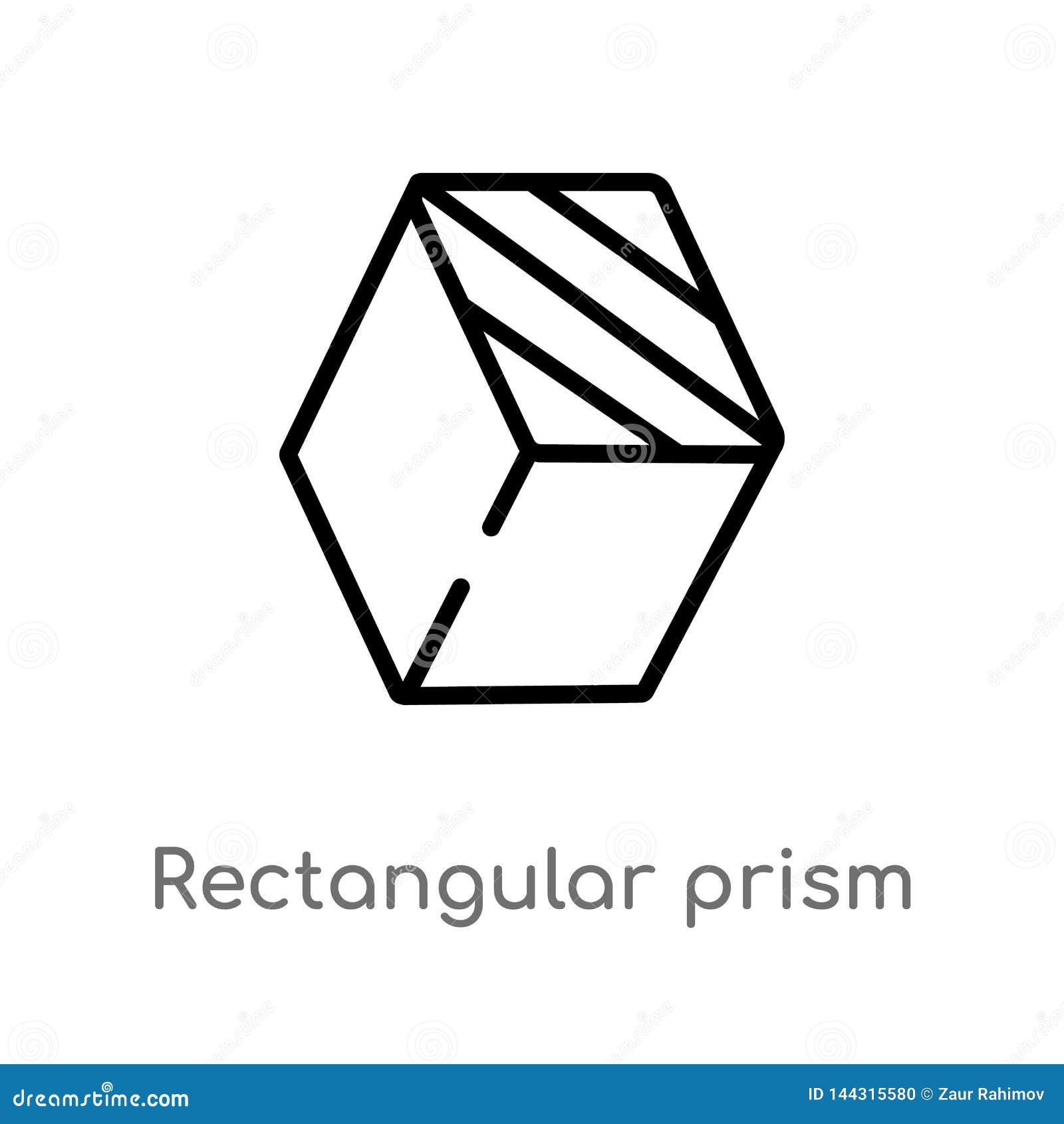 Icône de vecteur de prisme rectangulaire d ensemble ligne simple noire d isolement illustration d ?l?ment de concept de formes Co