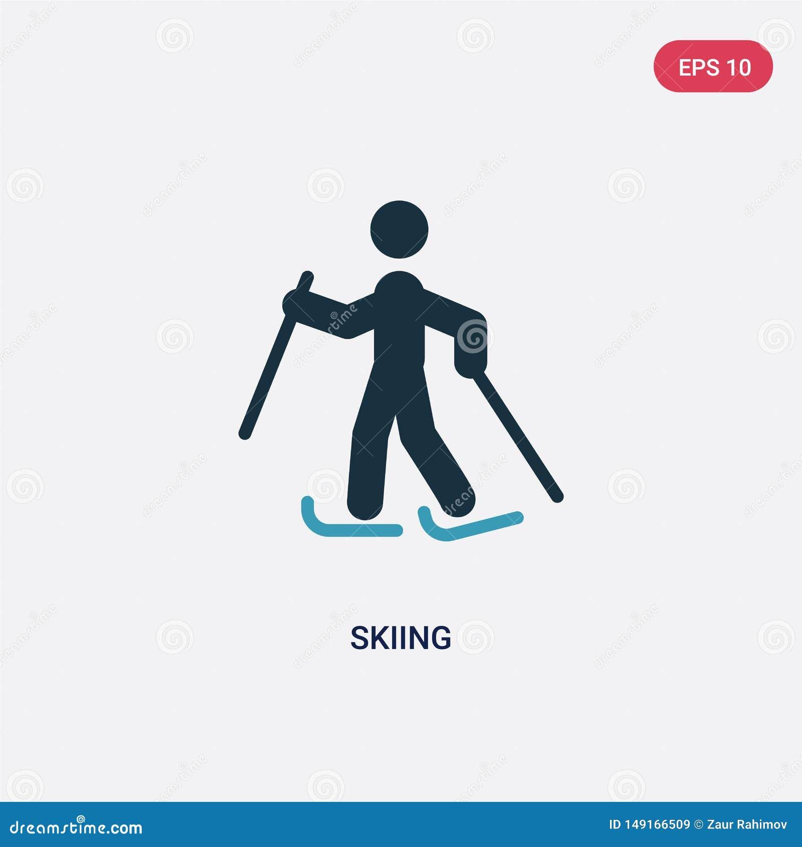 Icône de vecteur de ski de deux couleurs de concept de sports le symbole de ski bleu d isolement de signe de vecteur peut ?tre ut