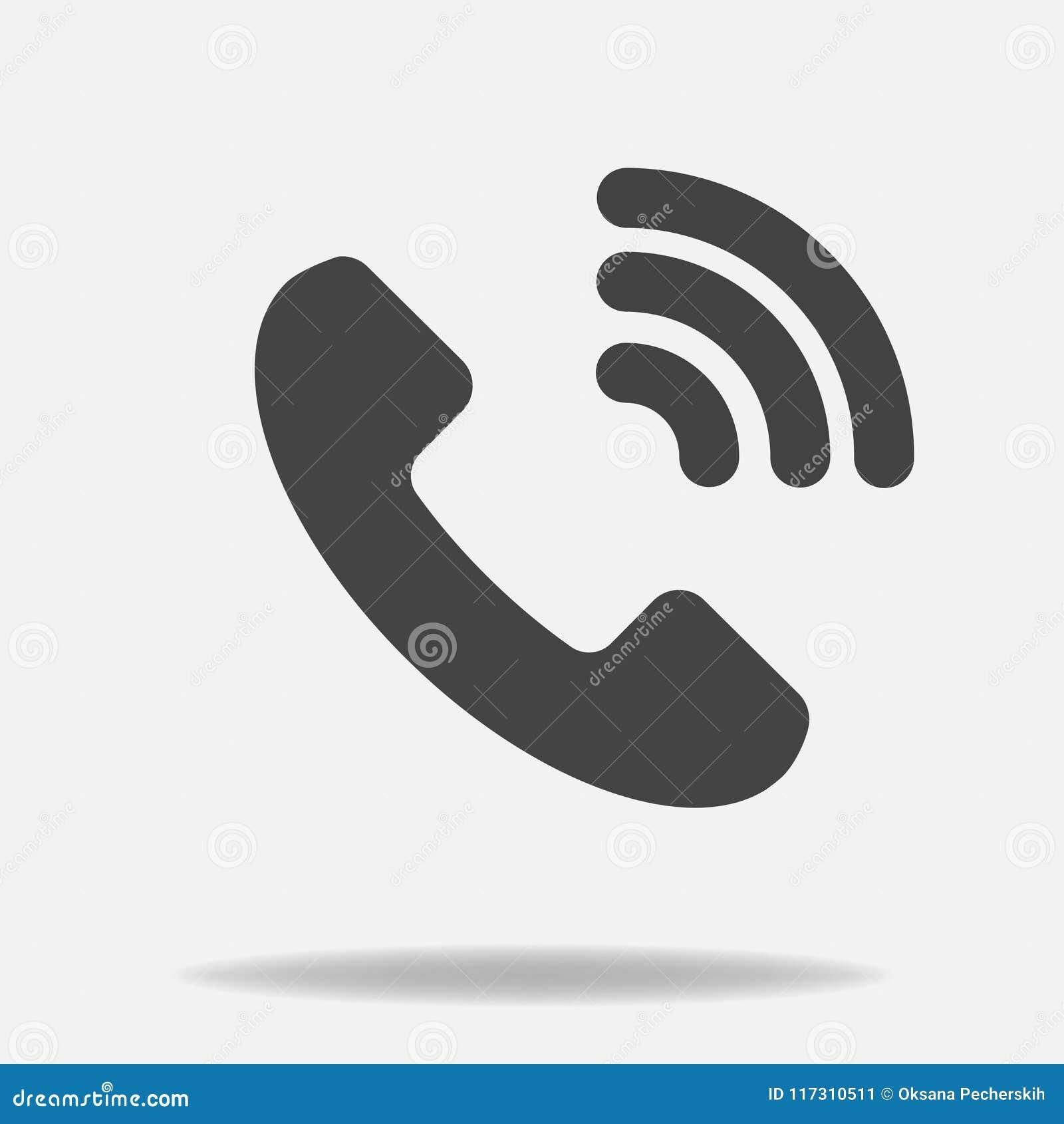 Icône de vecteur de téléphone sur le style plat Combiné avec l ombre Editi facile