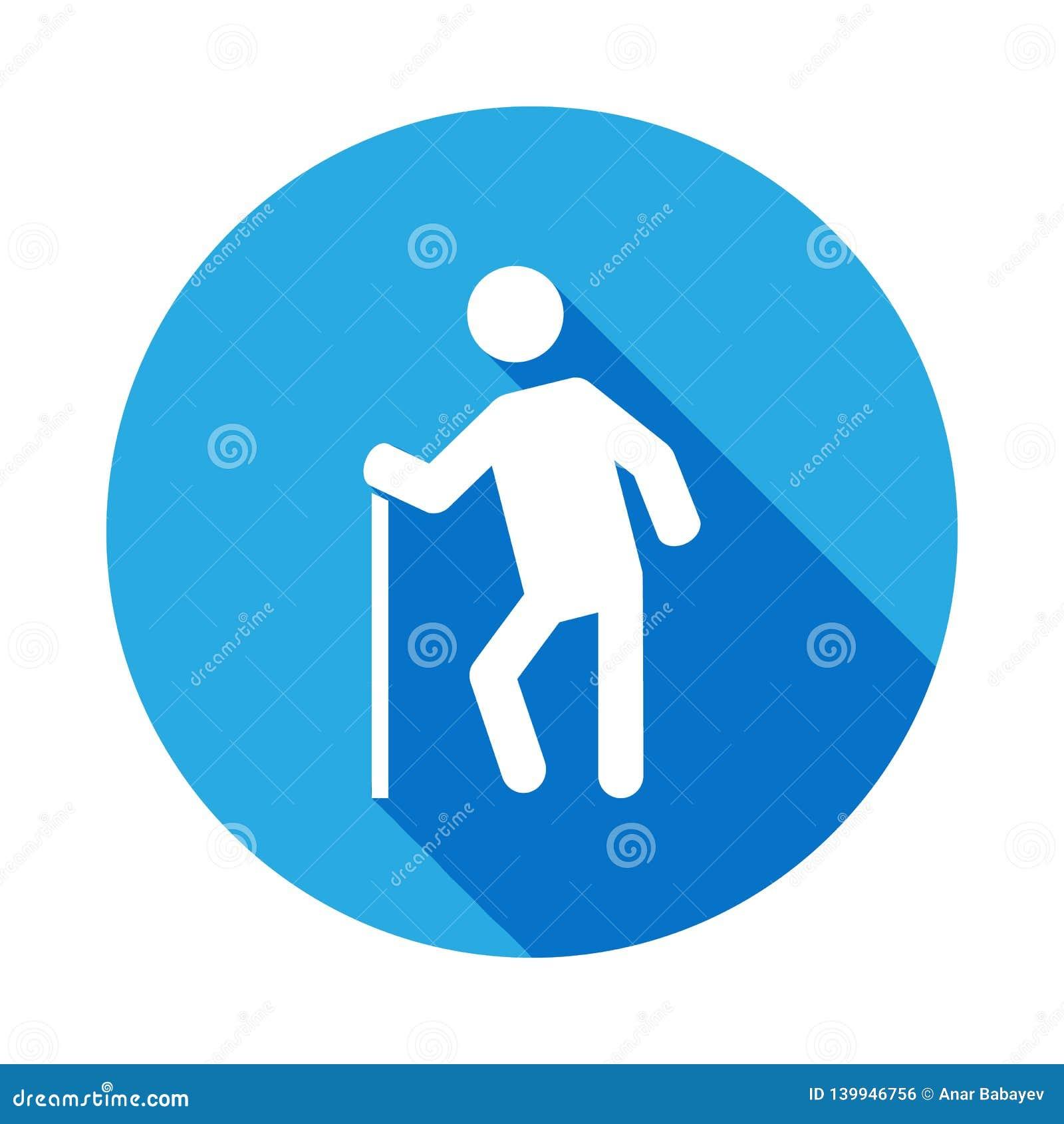 Icône de vieil homme avec la longue ombre Des signes et les symboles peuvent être employés pour le Web, logo, l appli mobile, UI,