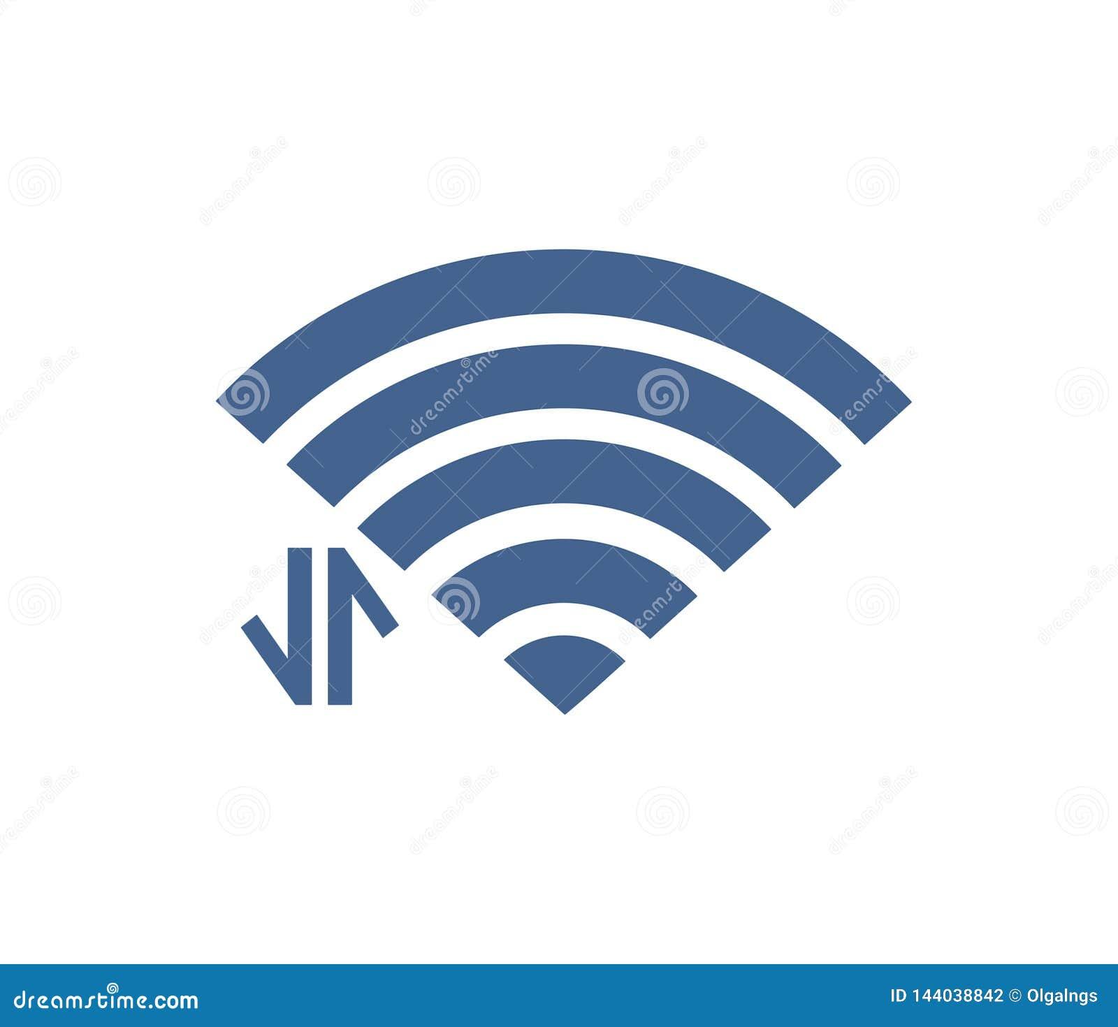 Icône de Wifi avec avec le signe de connexion