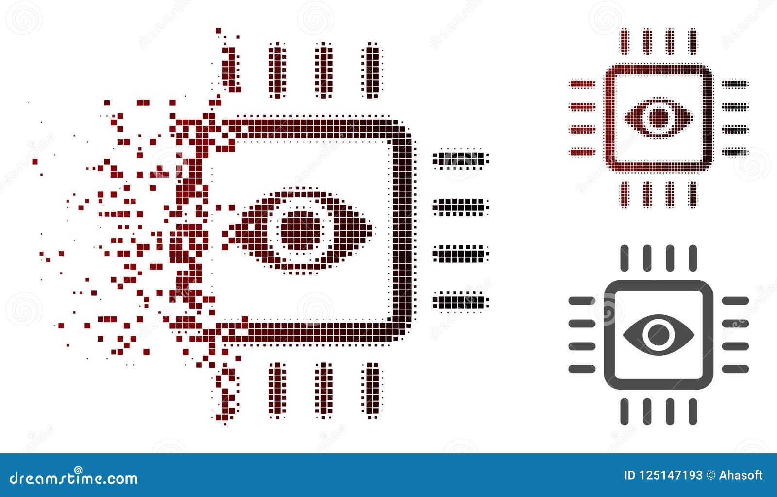 Icône dispersée de Dot Halftone Bionic Vision Chip