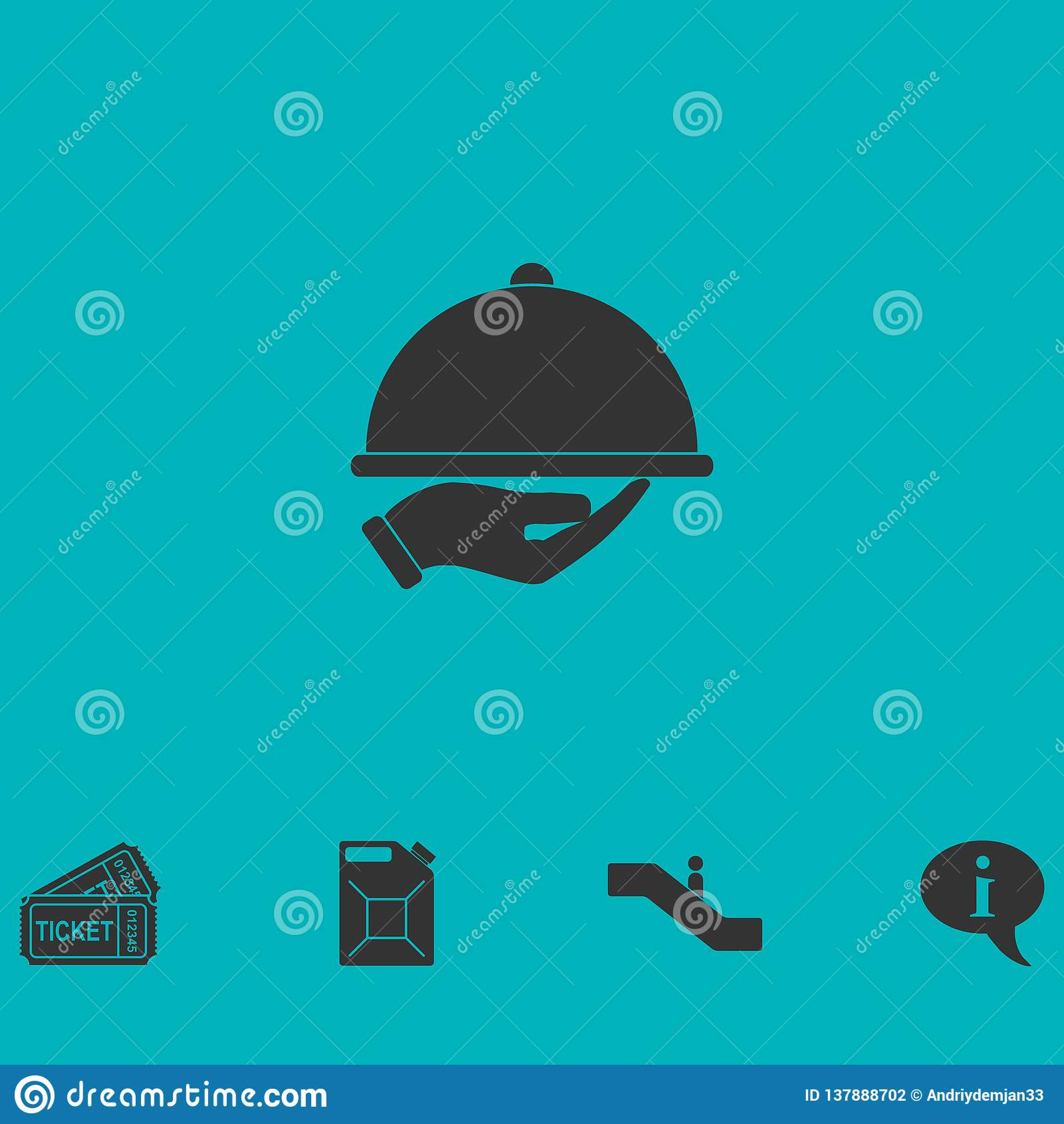 Icône disponible de cloche de restaurant à plat