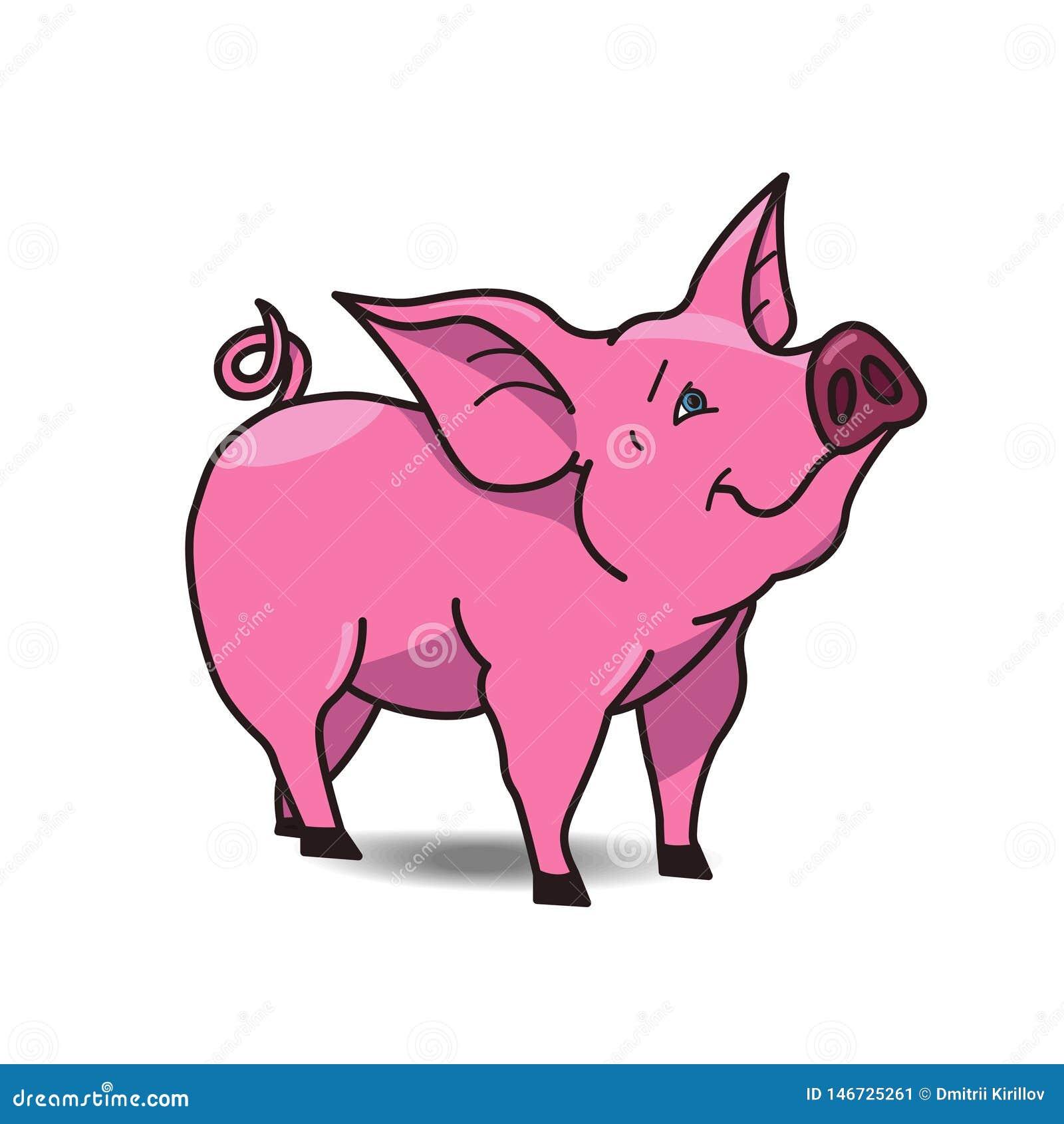 Icône drôle de porc d isolement sur le fond blanc