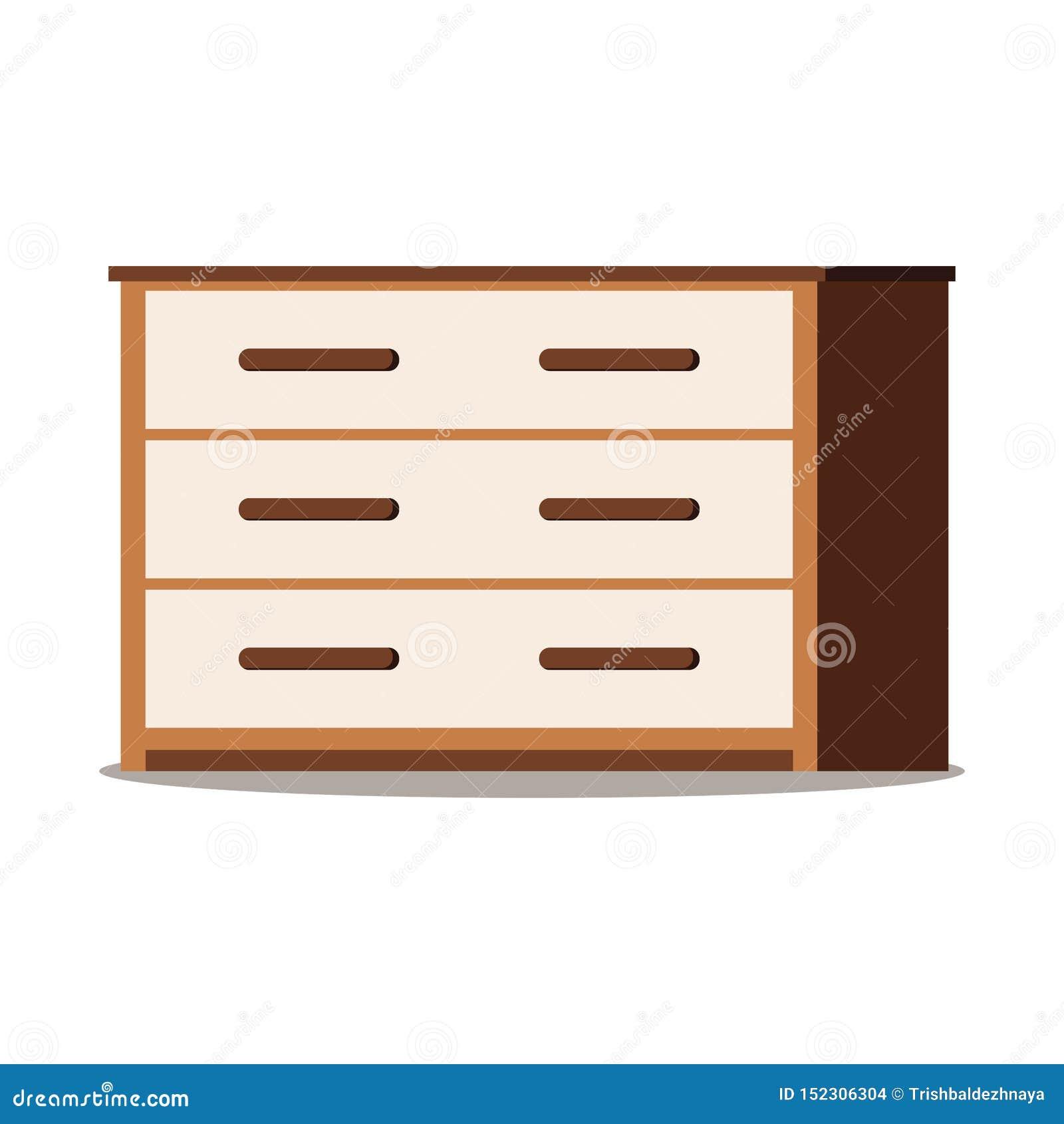 Icône du coffre des tiroirs en bois brun avec des portes, étagère