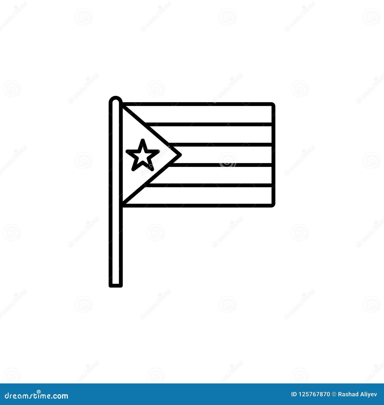 Icône du Cuba Élément d icône de drapeau pour les apps mobiles de concept et de Web La ligne mince icône du Cuba peut être employ