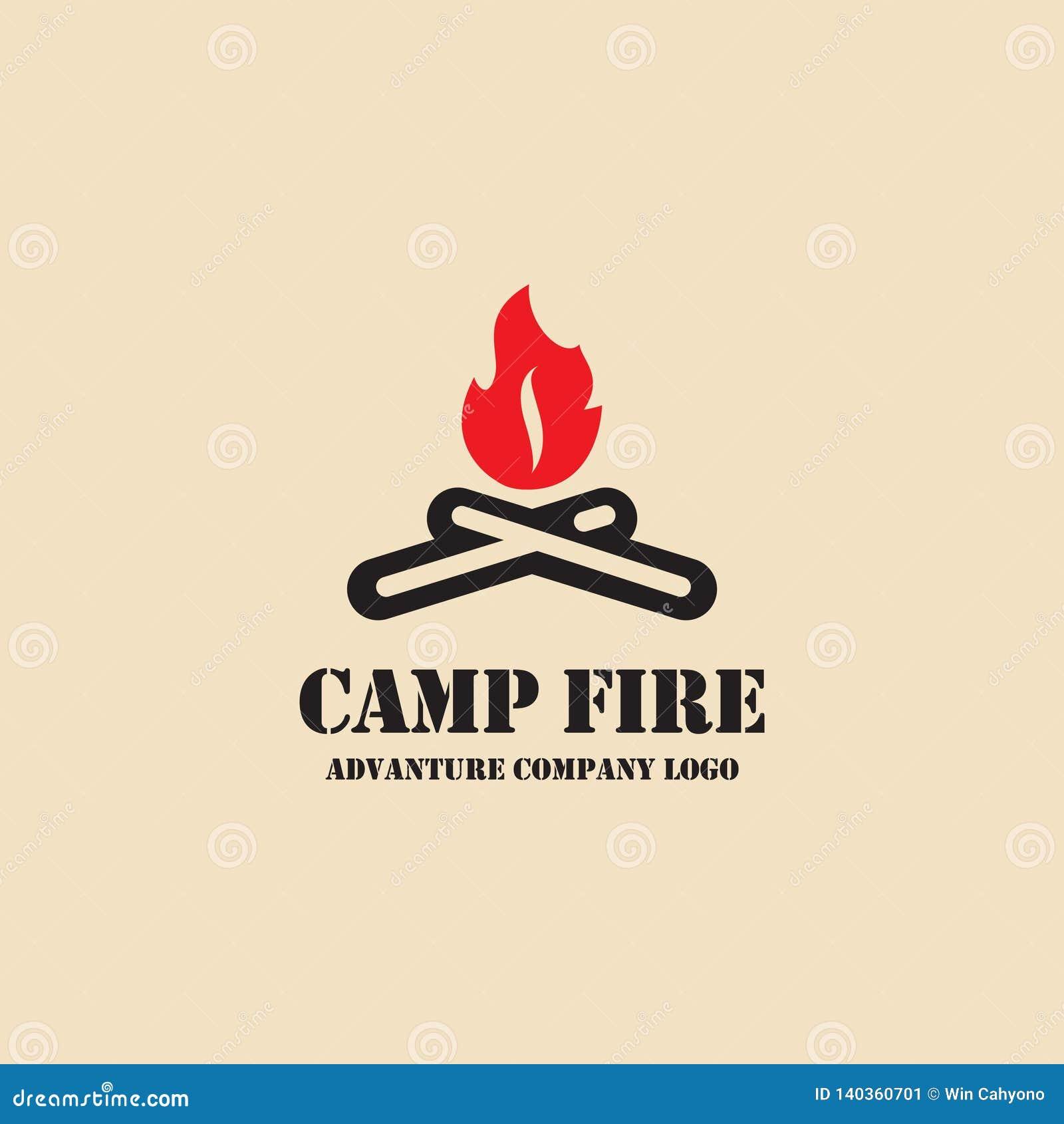 Icône du feu de camp Logo campant d illustration de vecteur d équipement