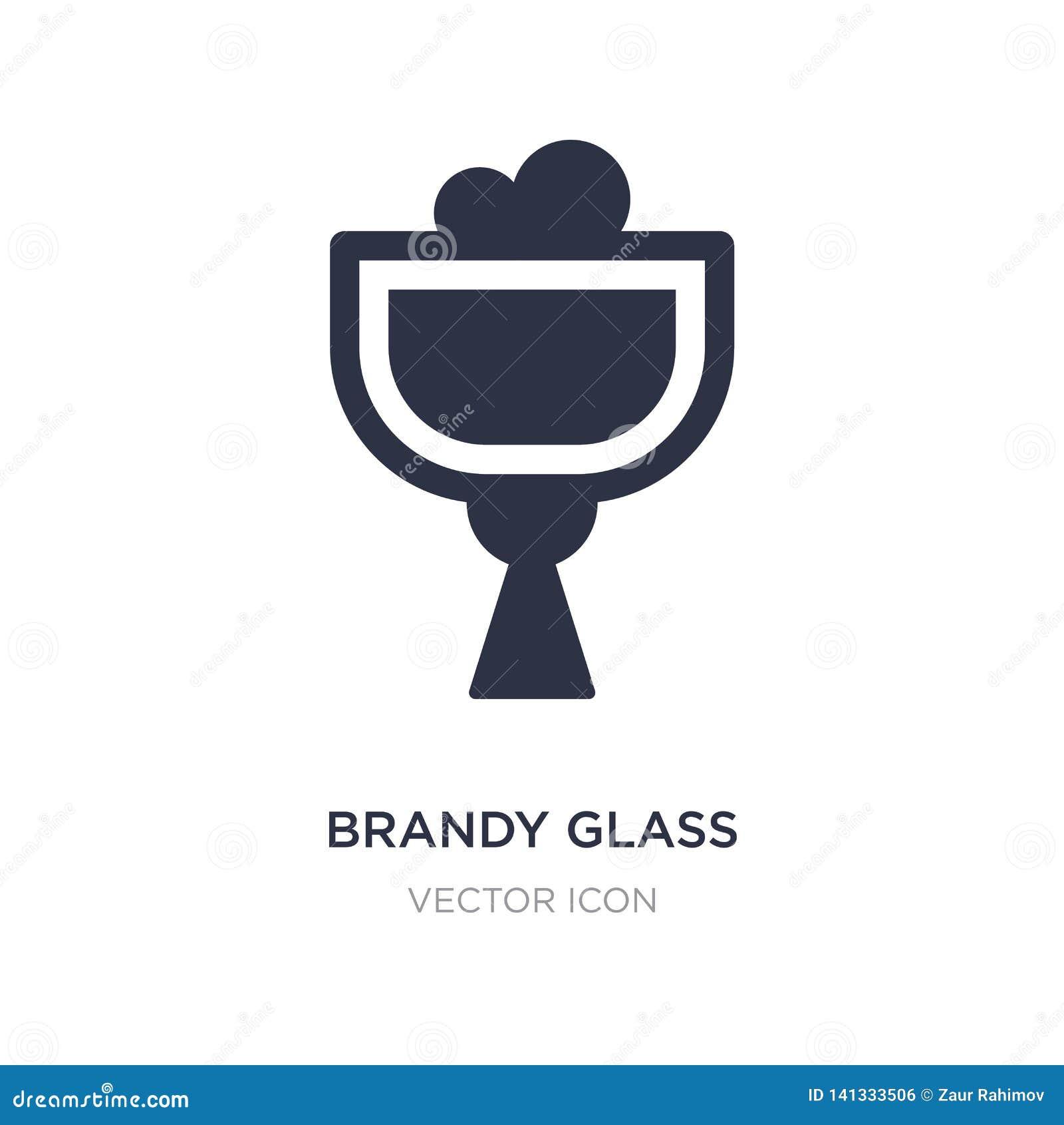 Icône en verre d eau-de-vie fine sur le fond blanc Illustration simple d élément de concept de boissons
